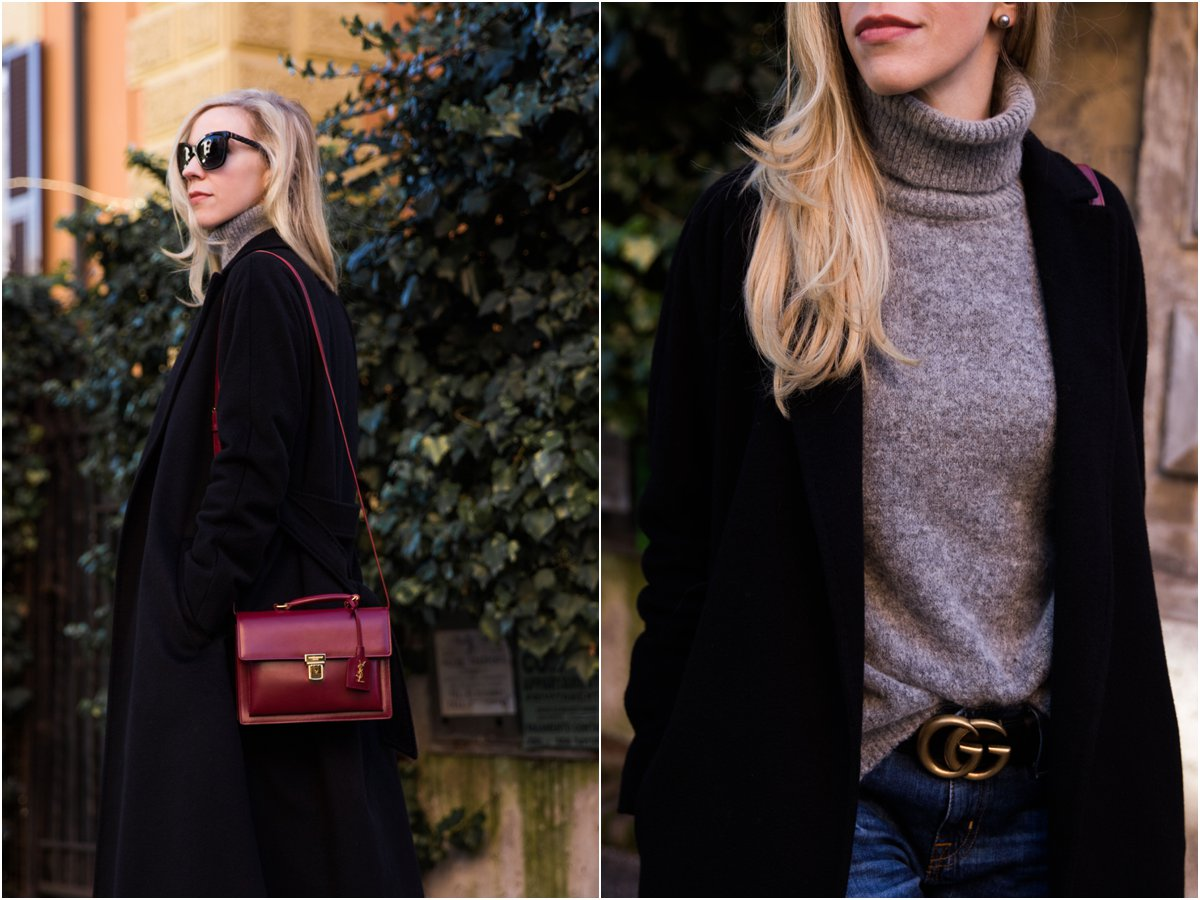 how to wear a black wrap coat, chic outfit with black coat, gray turtleneck and black Gucci Marmont belt
