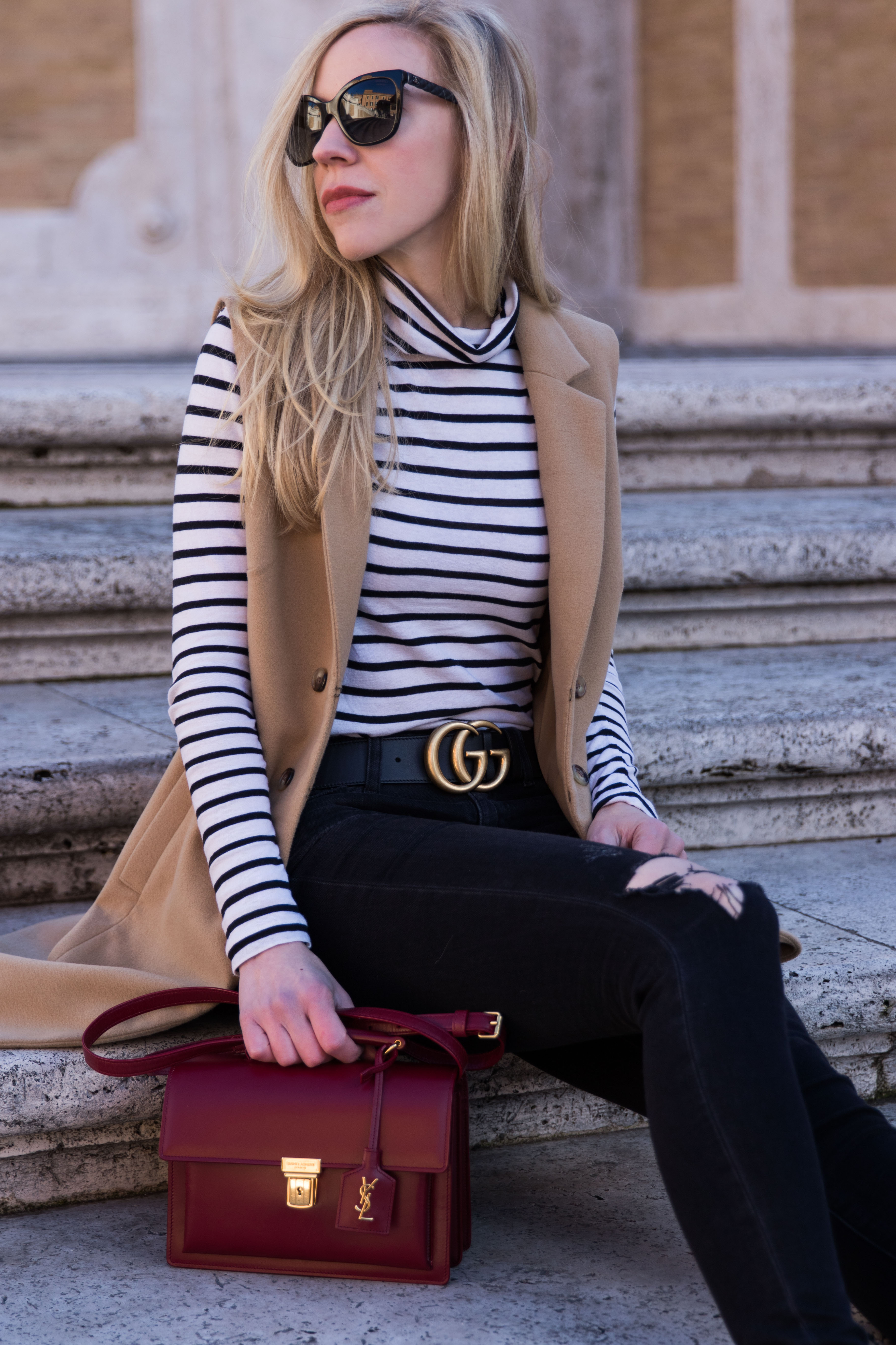 how to wear a camel vest, camel vest with black and white striped shirt and Gucci belt outfit