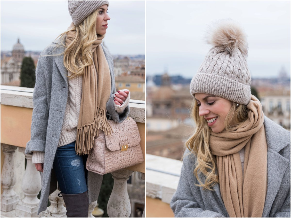 20f71a0e76 how-to-wear-a-pom-beanie-hat-neutral-color-winter-outfit -with-gray-beige-camel-and-light-pink