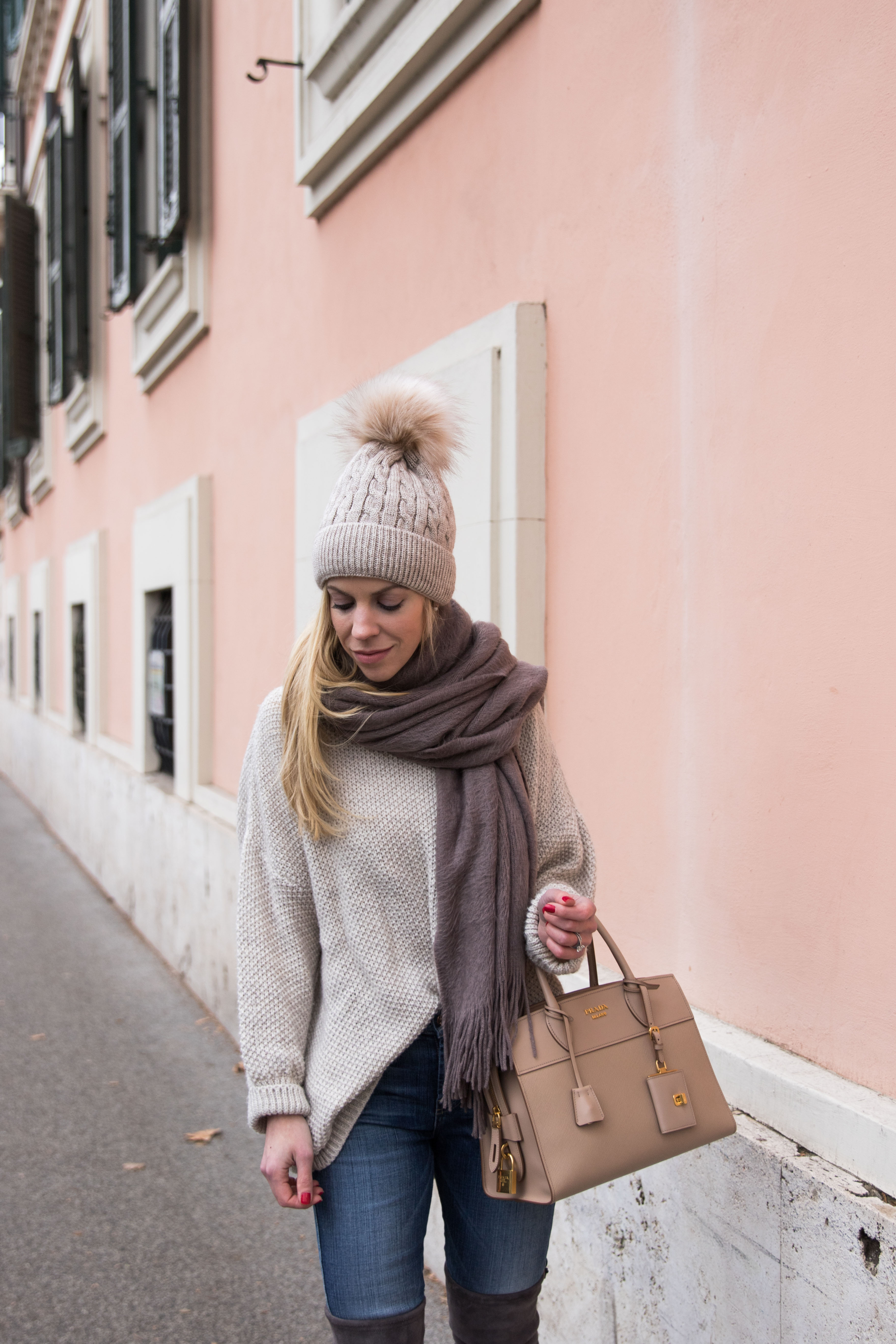 how to wear an oversized sweater with pom hat, Prada Esplanade City tote cameo beige