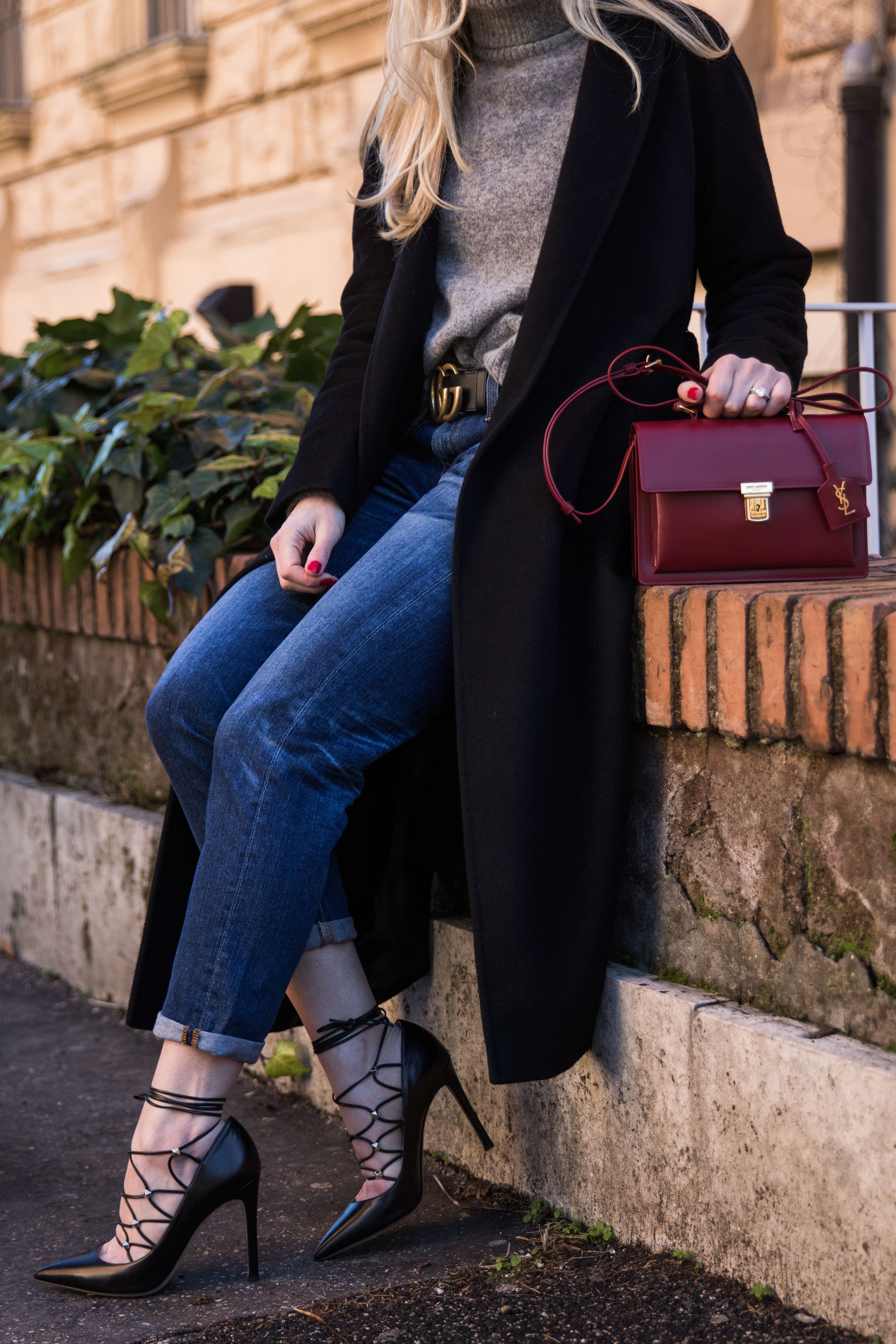 how to wear boyfriend jeans with lace-up heels, AG ex-boyfriend slim jeans 10 years wick, Valentino Rockstud lace-up pump