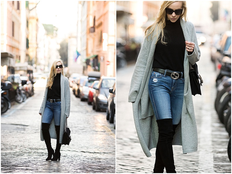 long gray cardigan with Gucci belt, high waist jeans and Stuart Weitzman Highland over-the-knee boots, how to wear a maxi cardigan