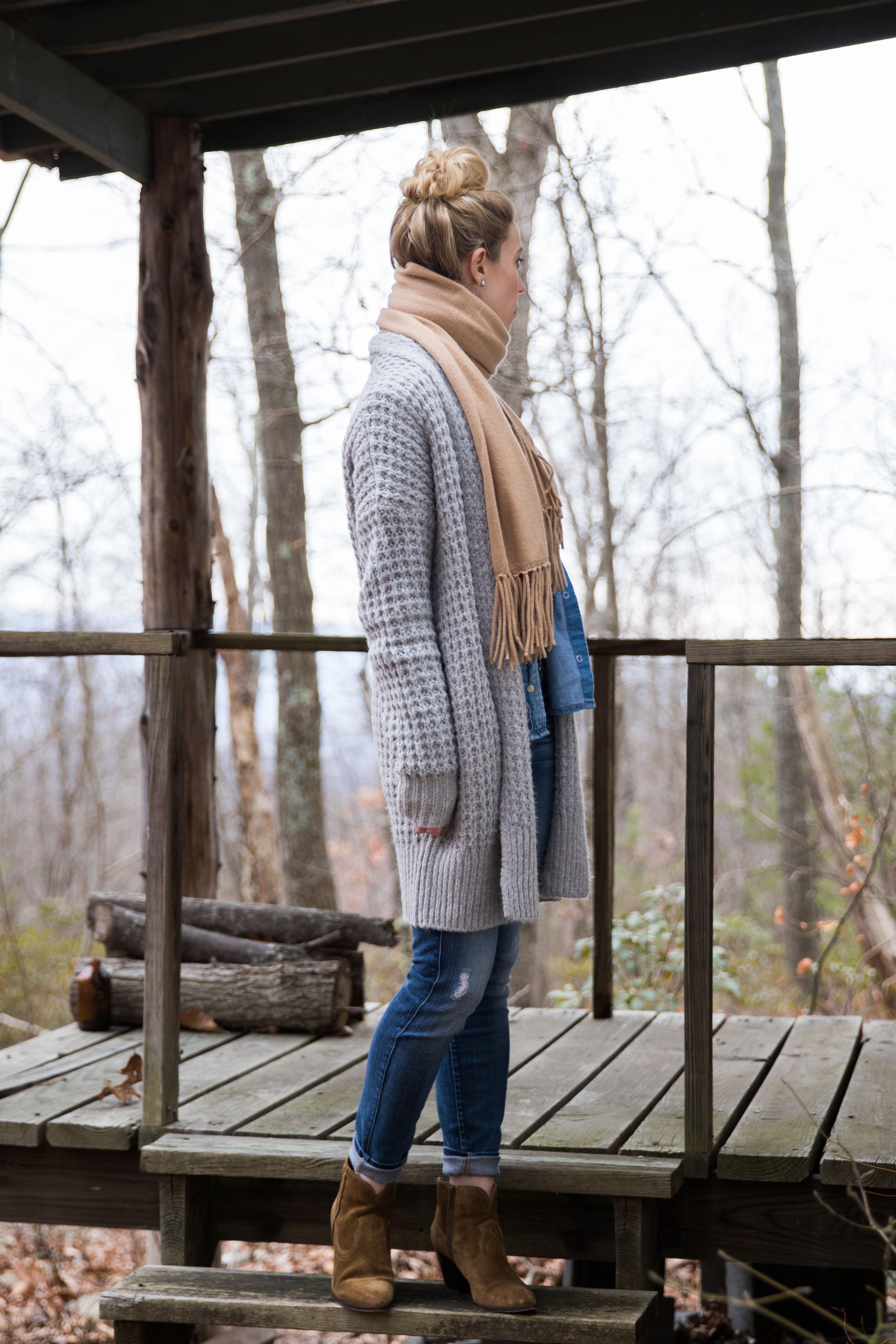 long gray waffle knit cardigan, camel scarf, Frye Renee western suede booties