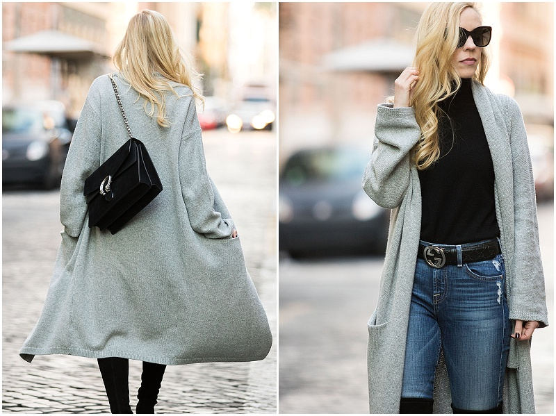 long maxi cardigan with black turtleneck, Gucci belt and over-the-knee boots, Gucci black suede Dionysus bag