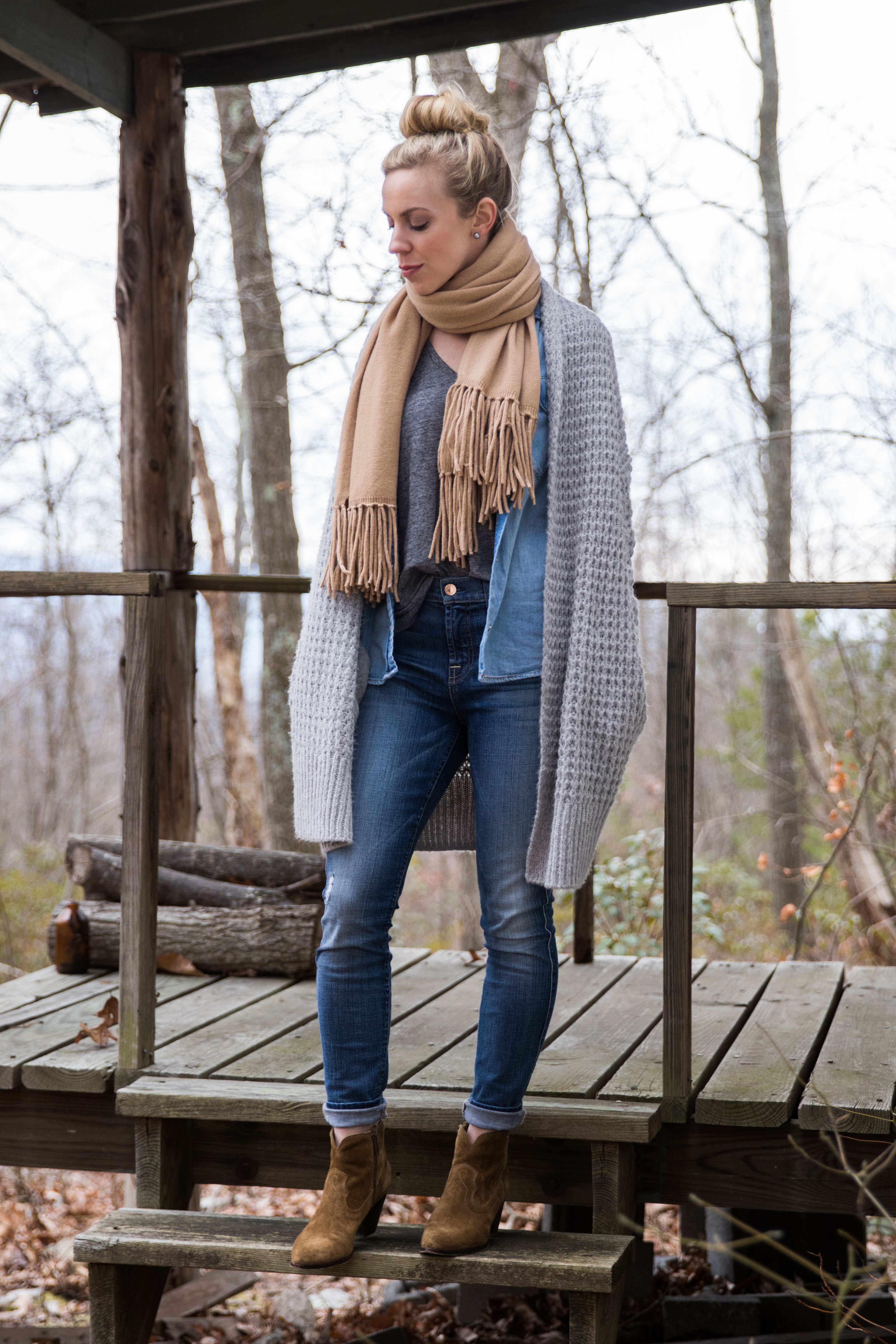 long waffle knit gray cardigan with camel scarf, denim shirt and Frye Renee suede booties