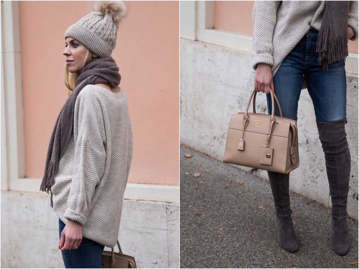 oversized sweater with pom hat outfit, Stuart Weitzman Highland boots Londra suede, Prada Esplanade CIty tote cameo