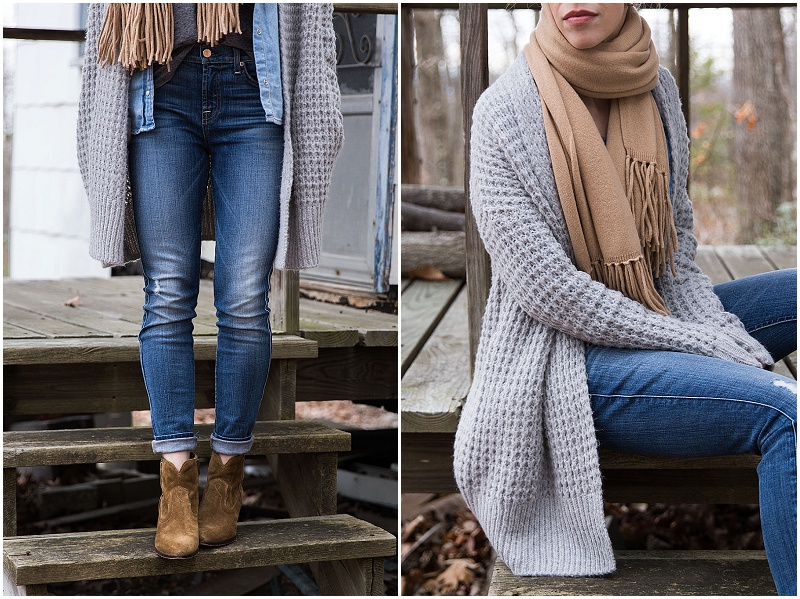 waffle knit cardigan with camel scarf and distressed jeans outfit, long gray cardigan fall outfit
