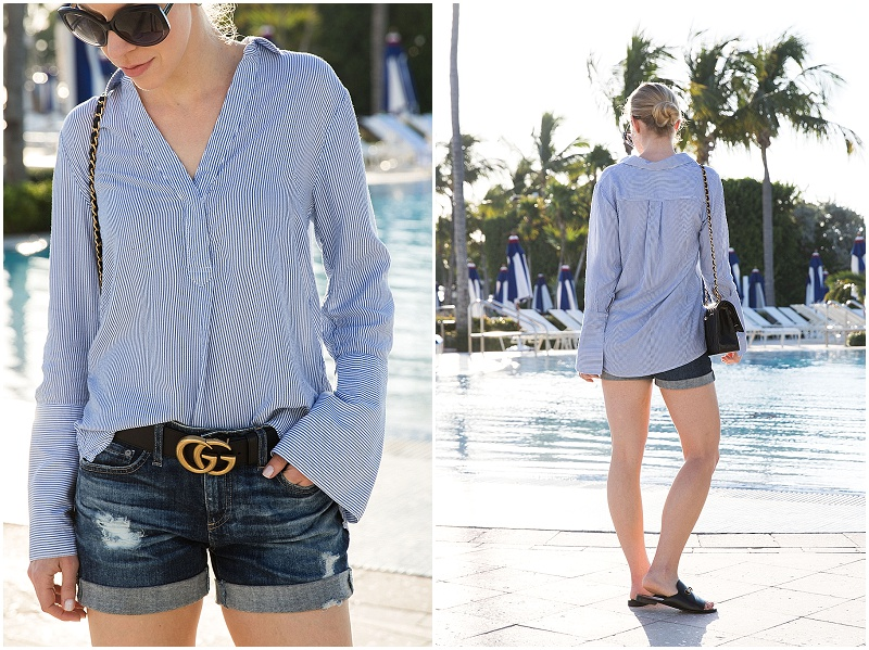 6f6bc8b8d H&M blue and white striped bell sleeve shirt with Gucci Marmont belt and AG  Jeans Hailey denim shorts