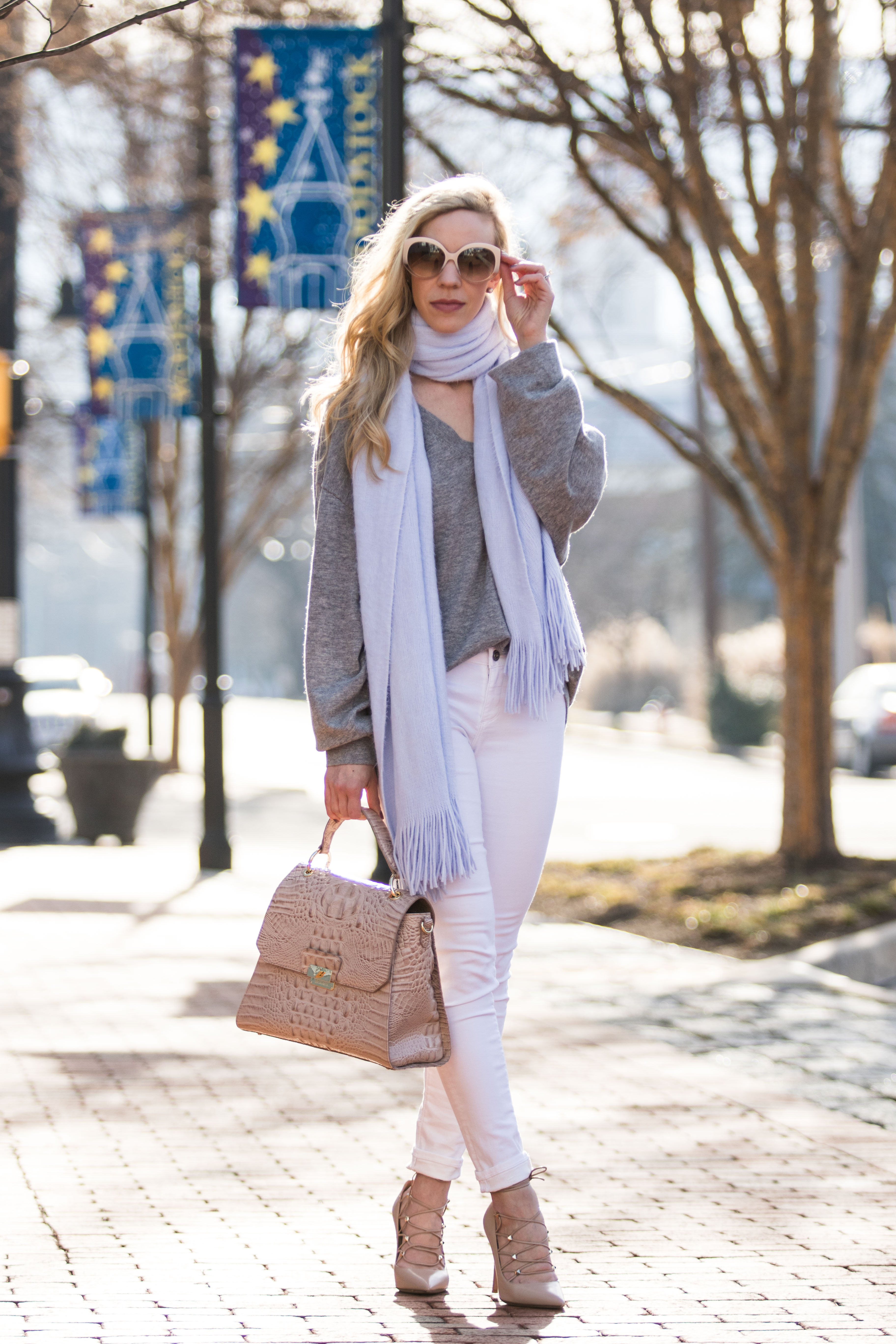 Soft Spring Layers: Light Blue Scarf, White Jeans & Blush Details