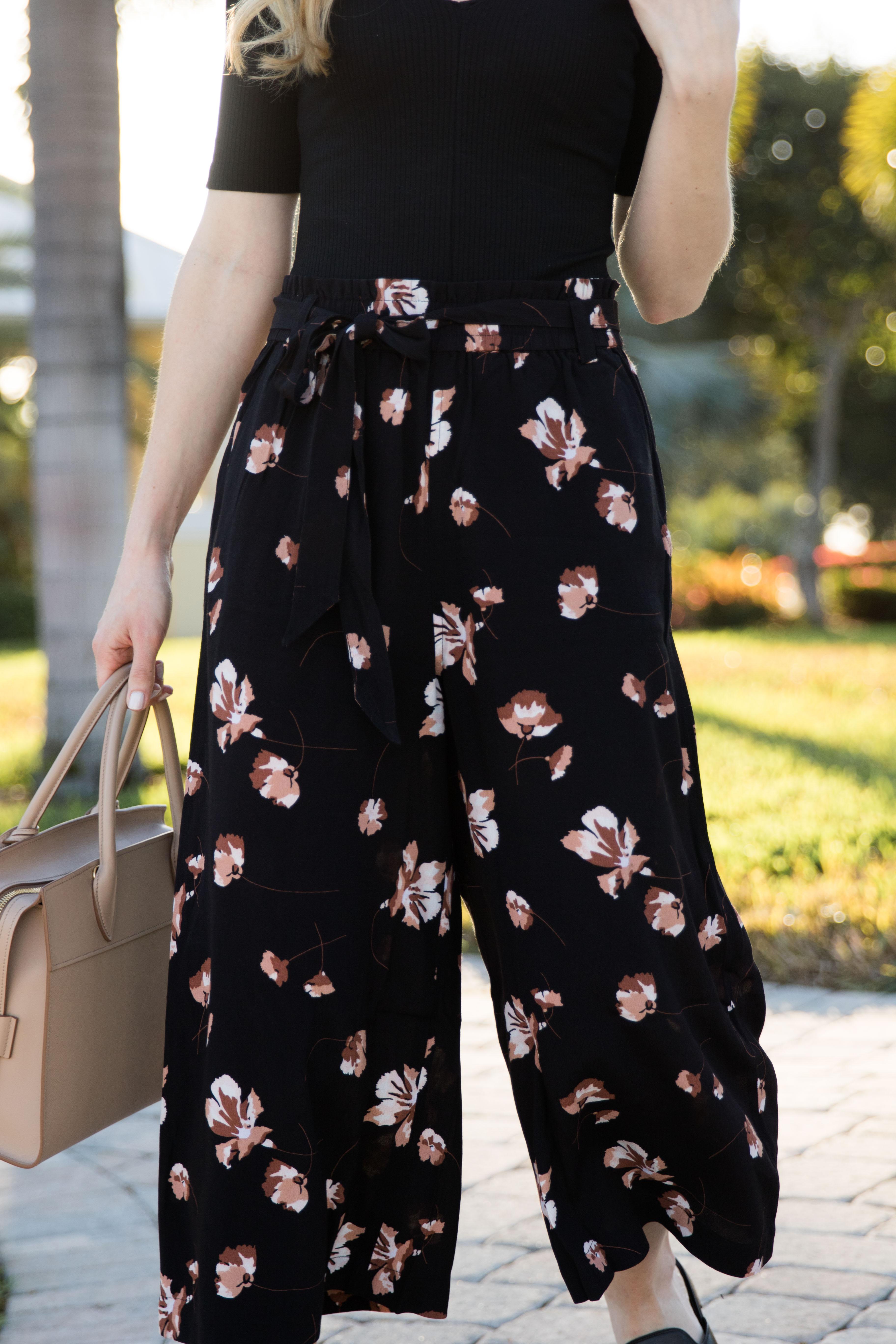 Island Time Ribbed Bodysuit Floral Pants Amp Slide Sandals
