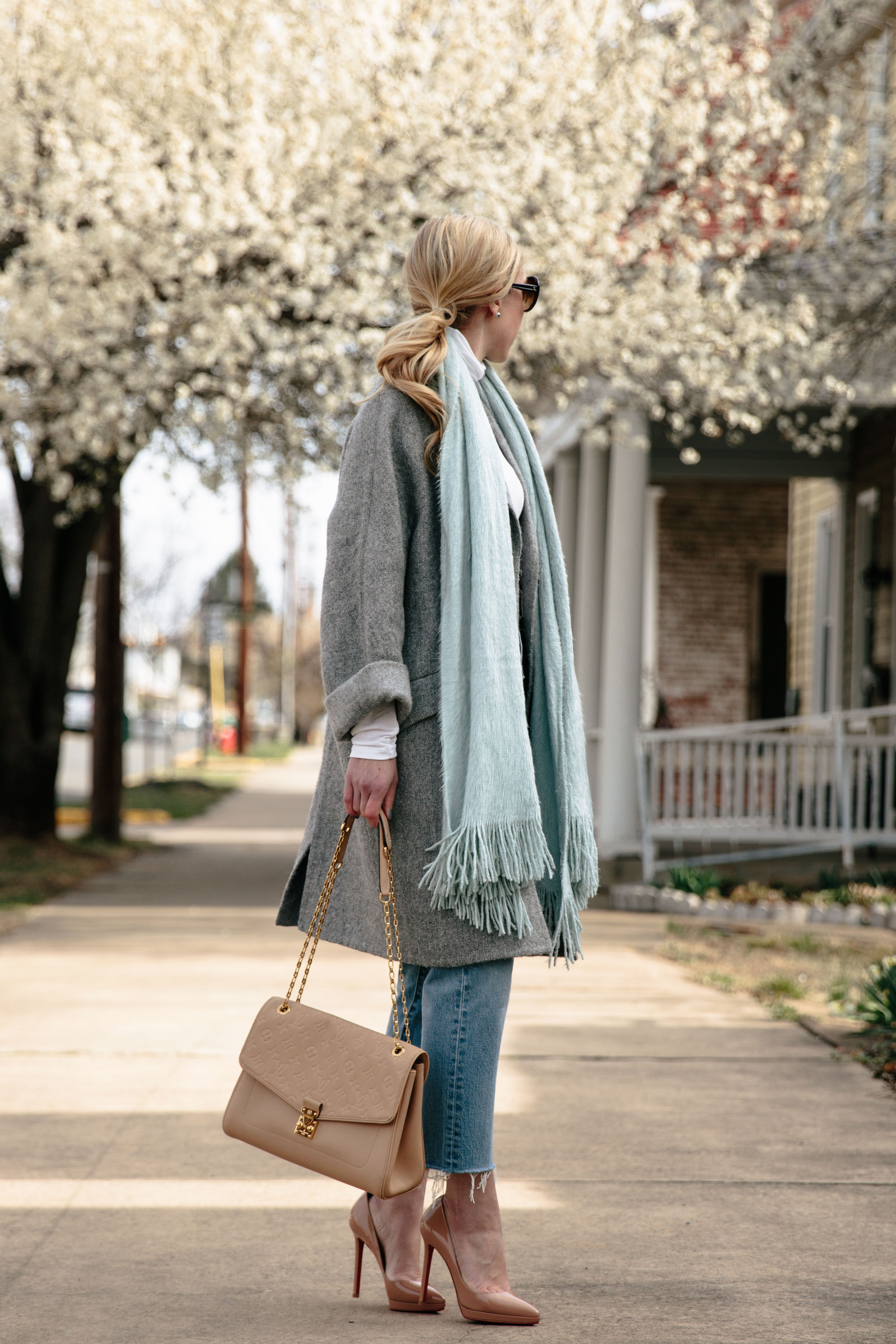 march madness oversized gray coat mint scarf amp straight