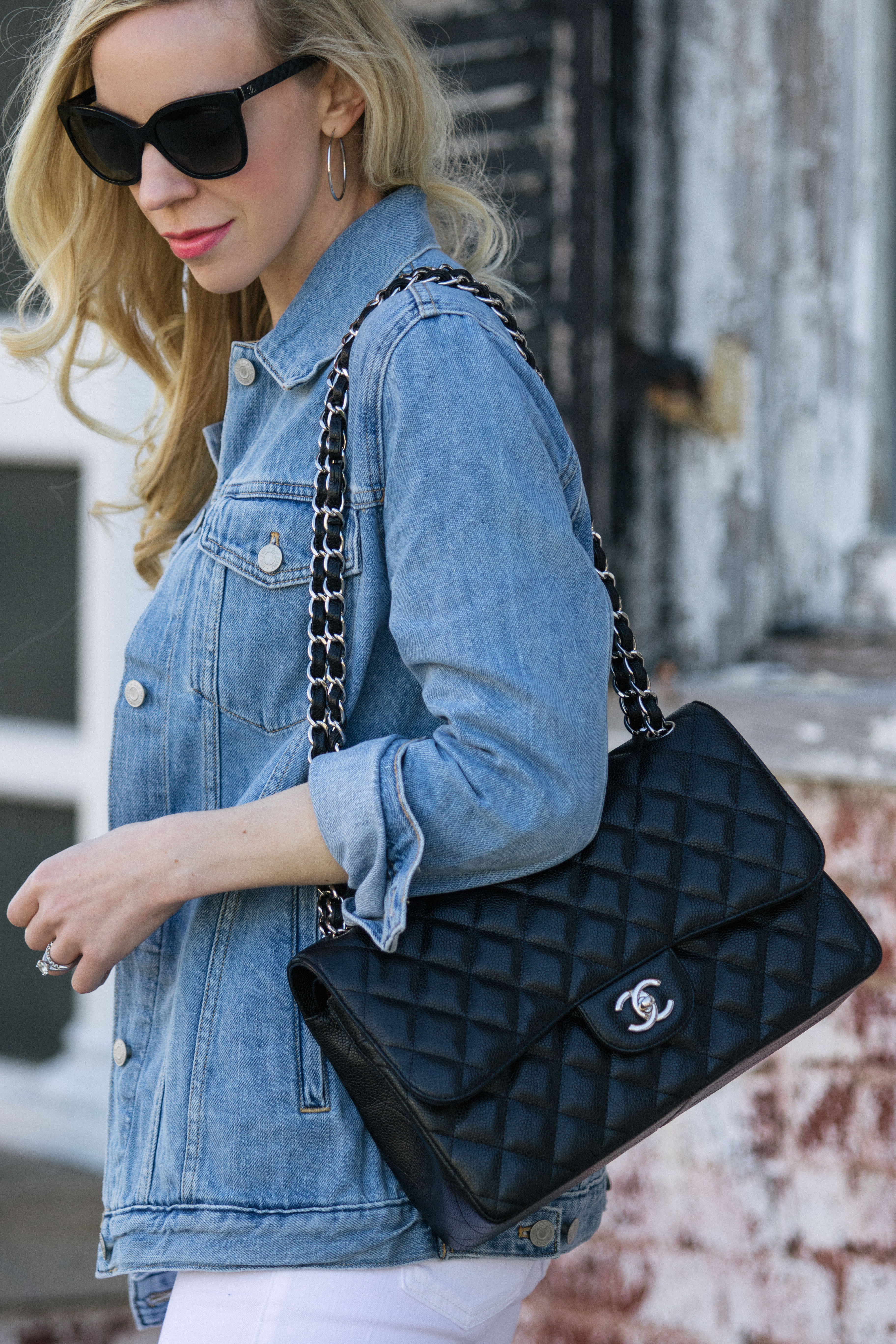 d4b426c7890d Chanel Jumbo bag black caviar with silver hardware, how to wear a long denim  jacket