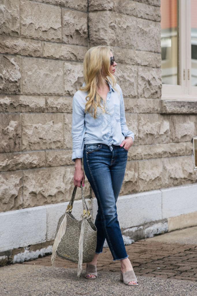 Double Denim Chambray Shirt High Waist Jeans Amp Mule