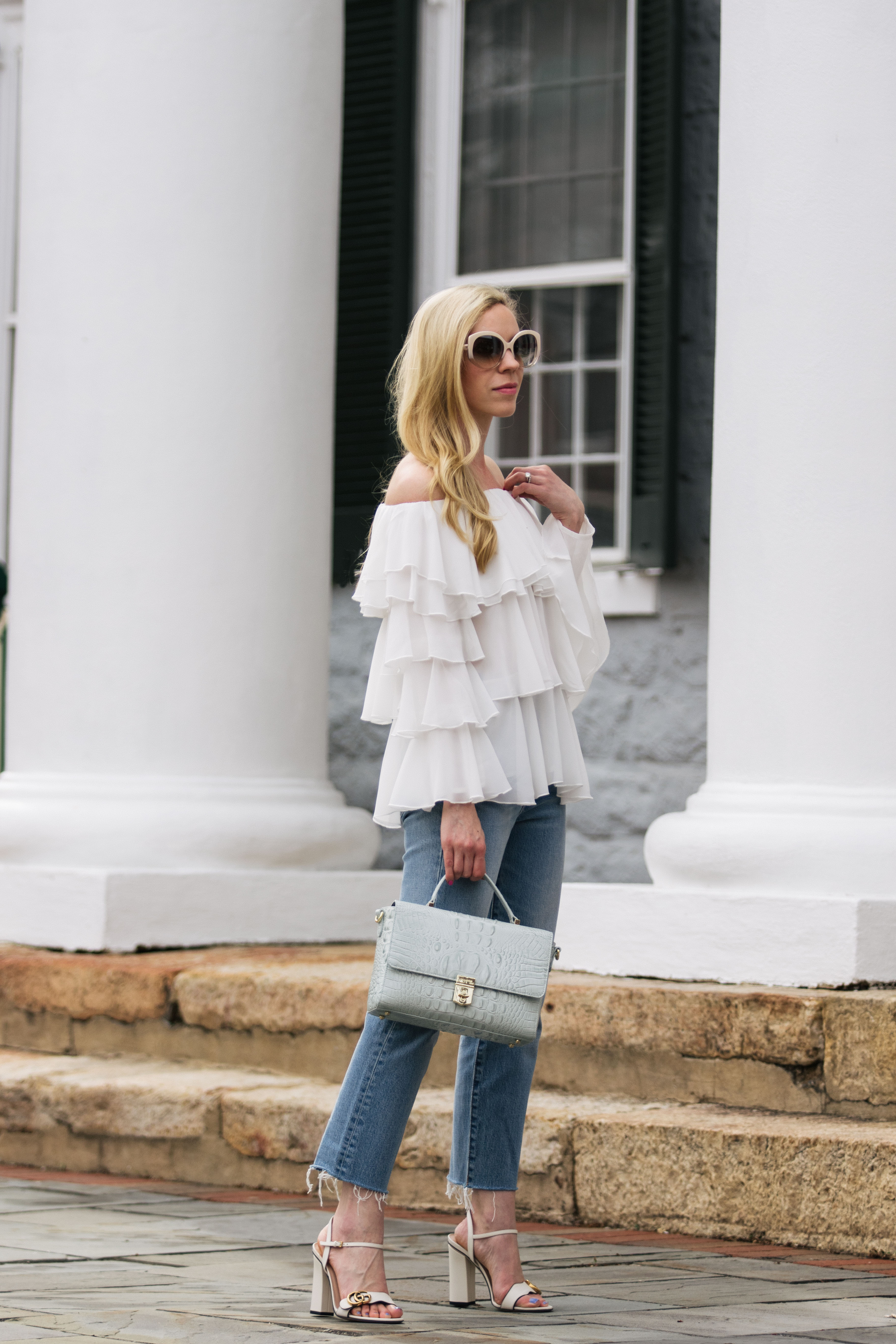 Ruffled: Off the Shoulder Top, Straight Leg Jeans & Block