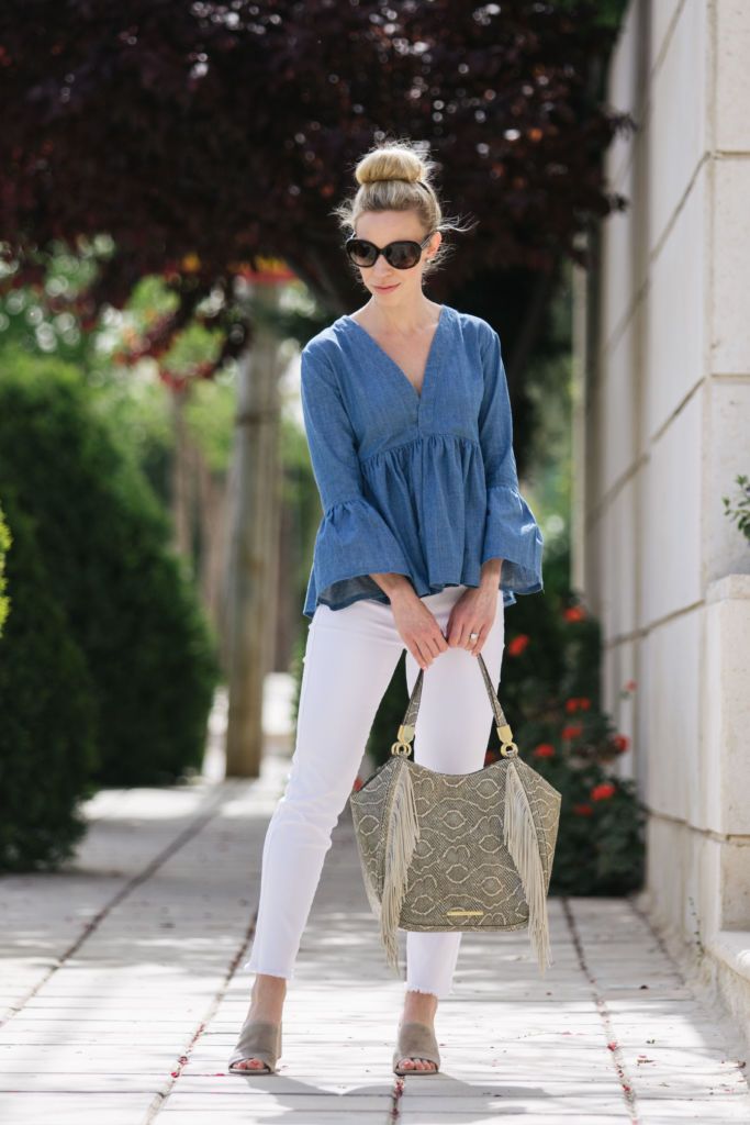 Chambray Bell Sleeves Amp White Denim Meagan S Moda