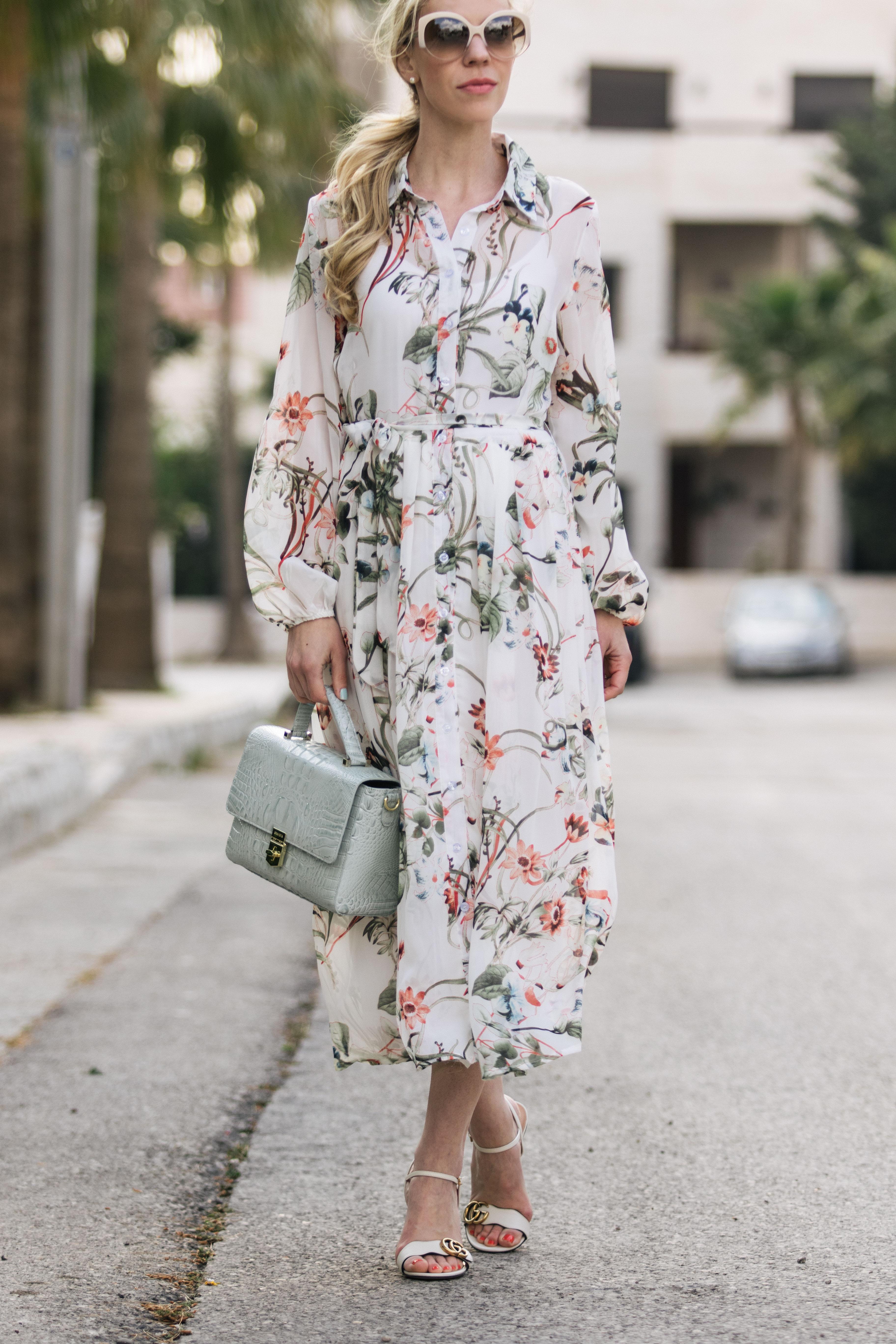 Feminine Floral Midi Dress Amp Block Heel Sandals Meagan