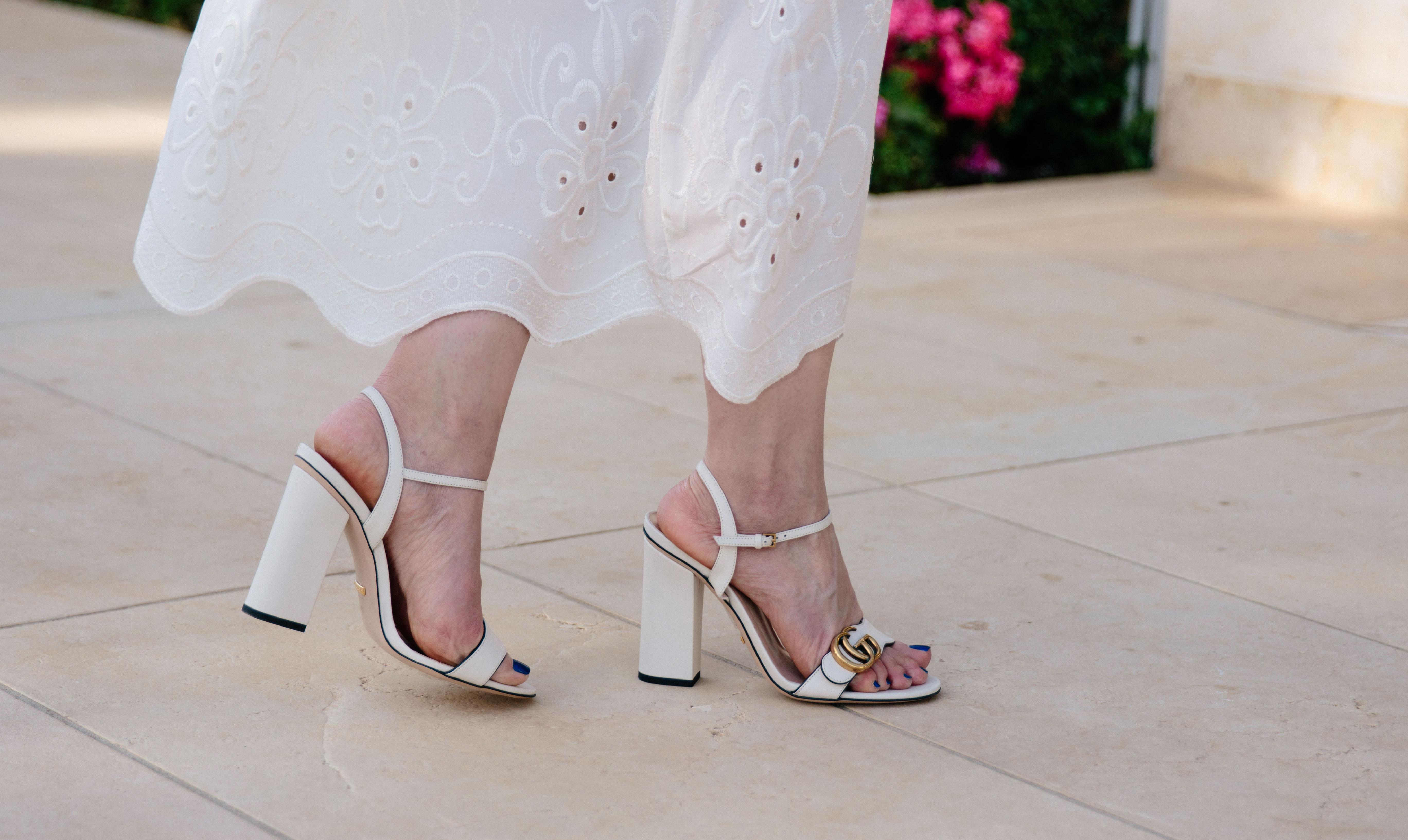 6d9645989f1c Gucci white Marmont block heel sandals white white lace dress ...