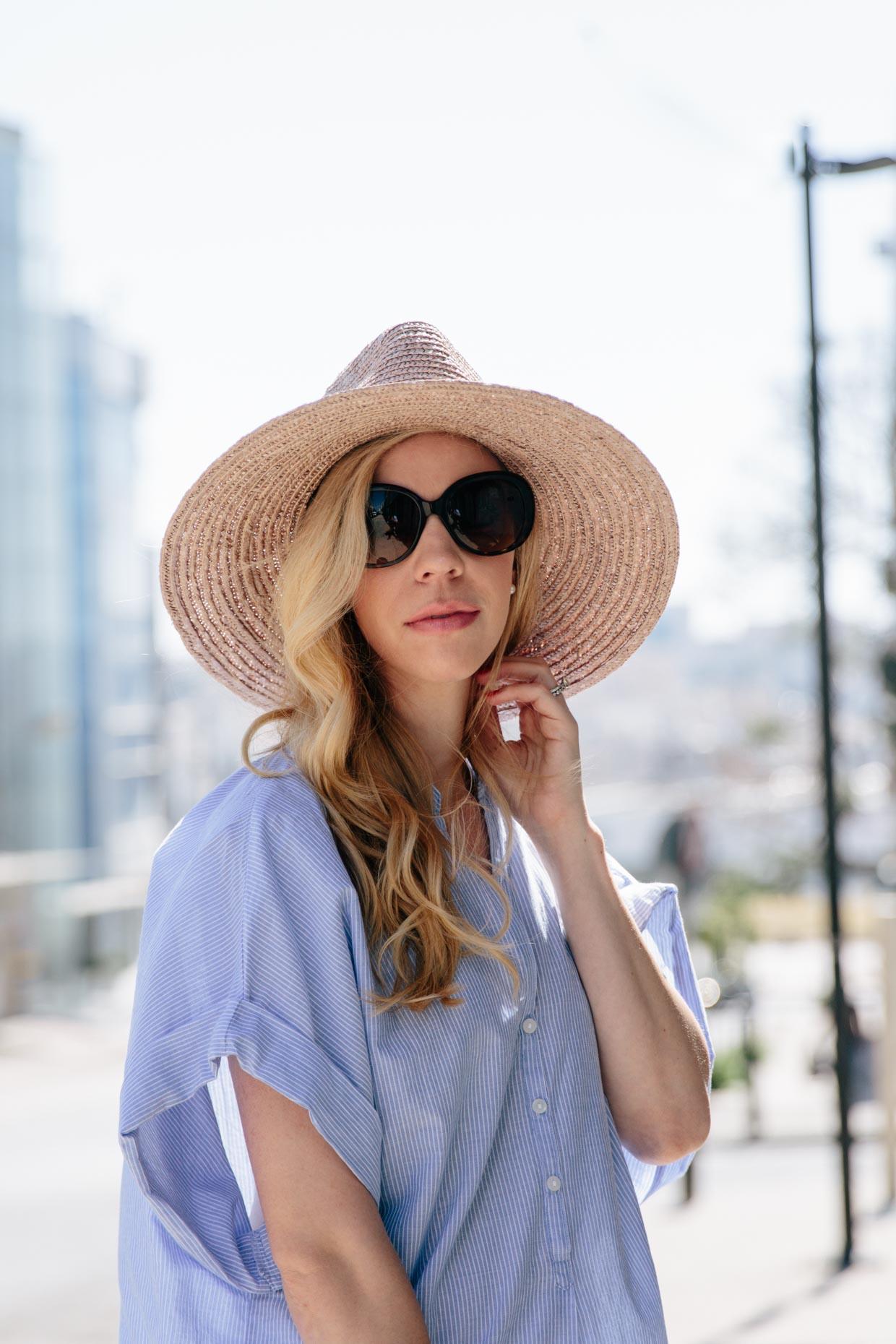 84105bddcd395 Meagan Brandon fashion blogger wearing Brixton Joanna hat champagne ...