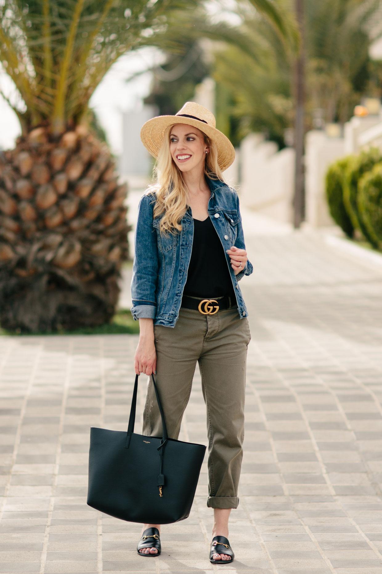 62971e287b6 Meagan Brandon fashion blogger wearing denim jacket with olive chinos