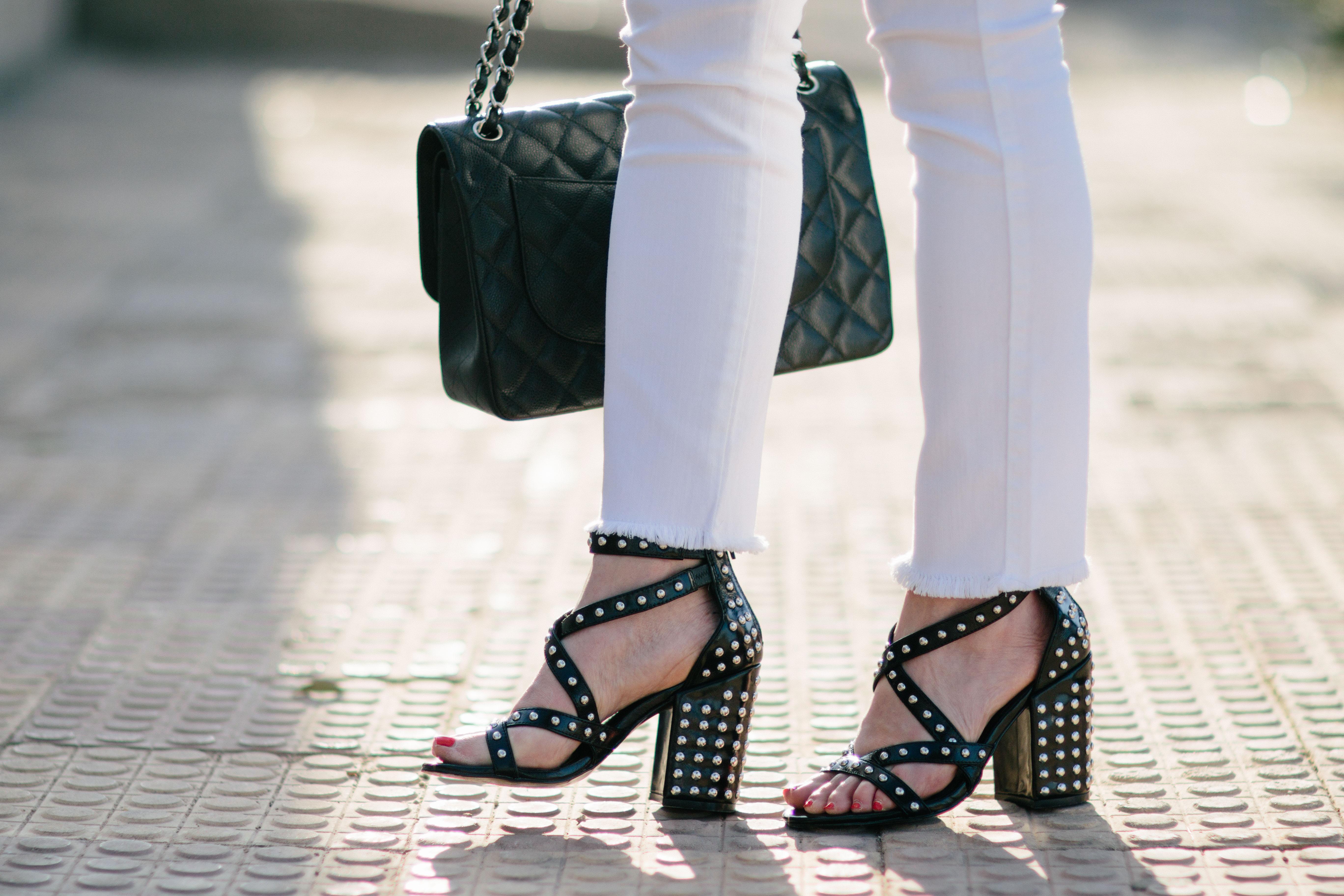 2a903fd13da Steve Madden Fara S studded black leather block heel sandals ...