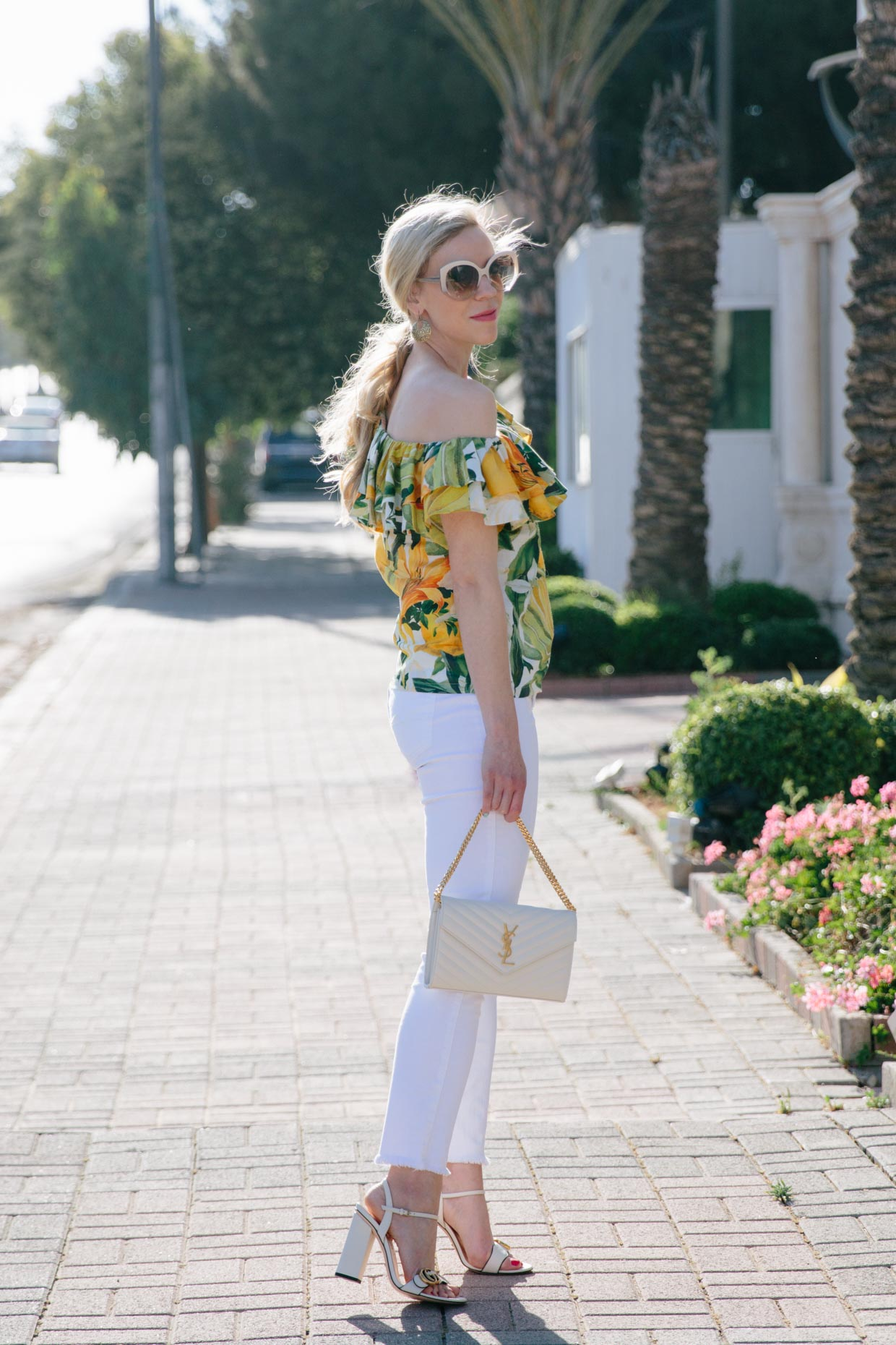 Paradise Dreaming Ruffled One Shoulder Top With White