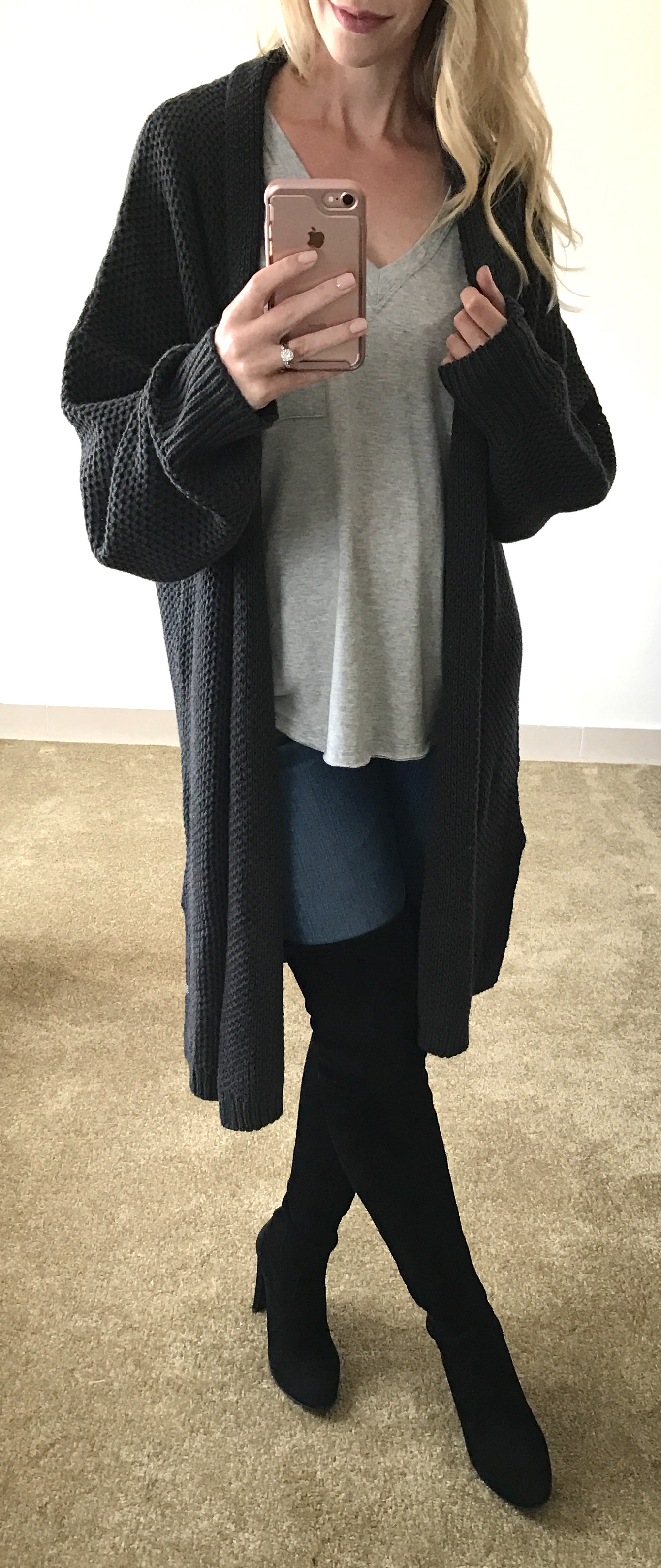 e091cf34aab Meagan Brandon fashion blogger wears long oversized cardigan with over the knee  boots from 2017 Nordstrom Anniversary Sale