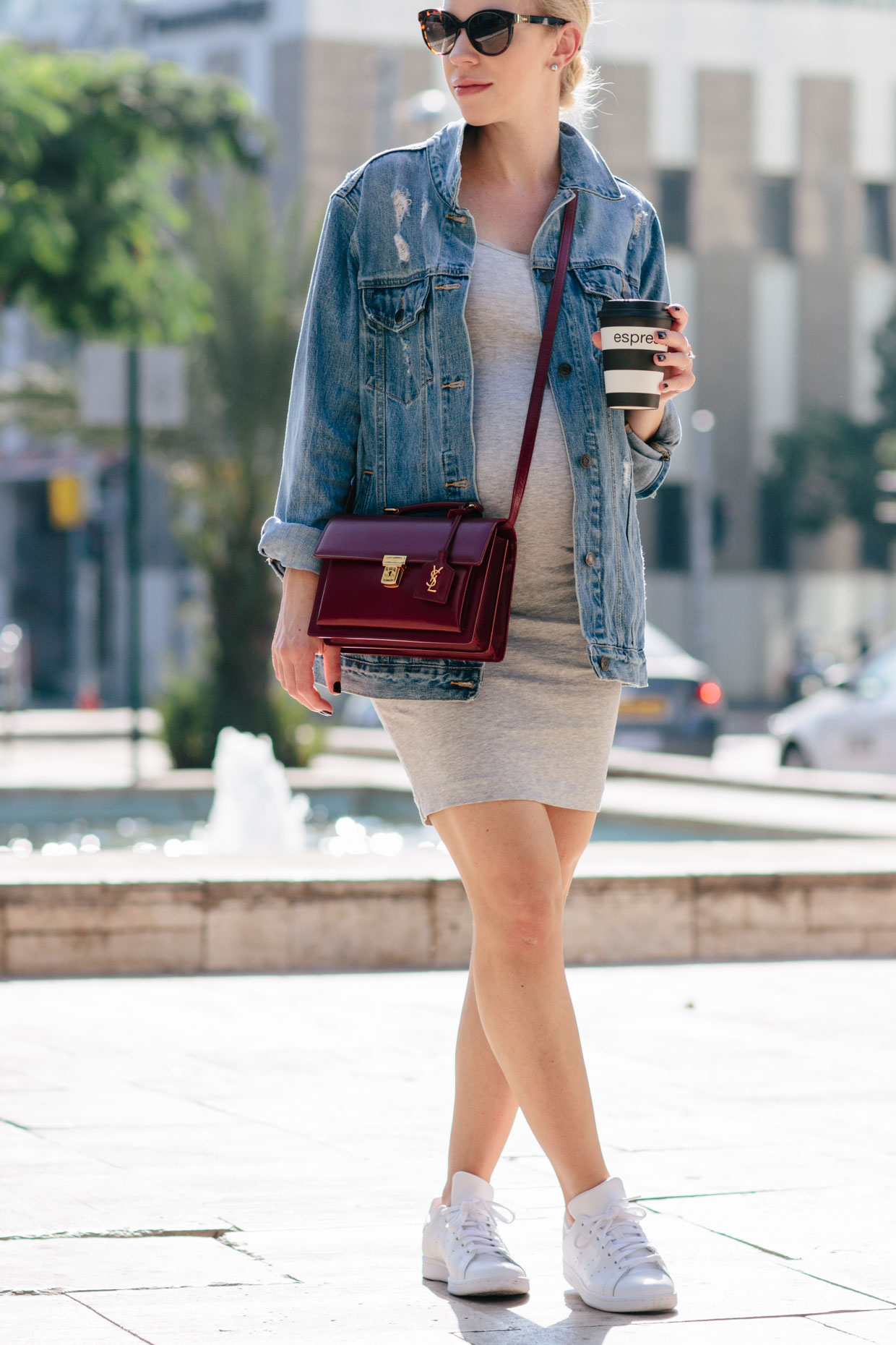 Gal year bodycon dress with denim jacket and pants