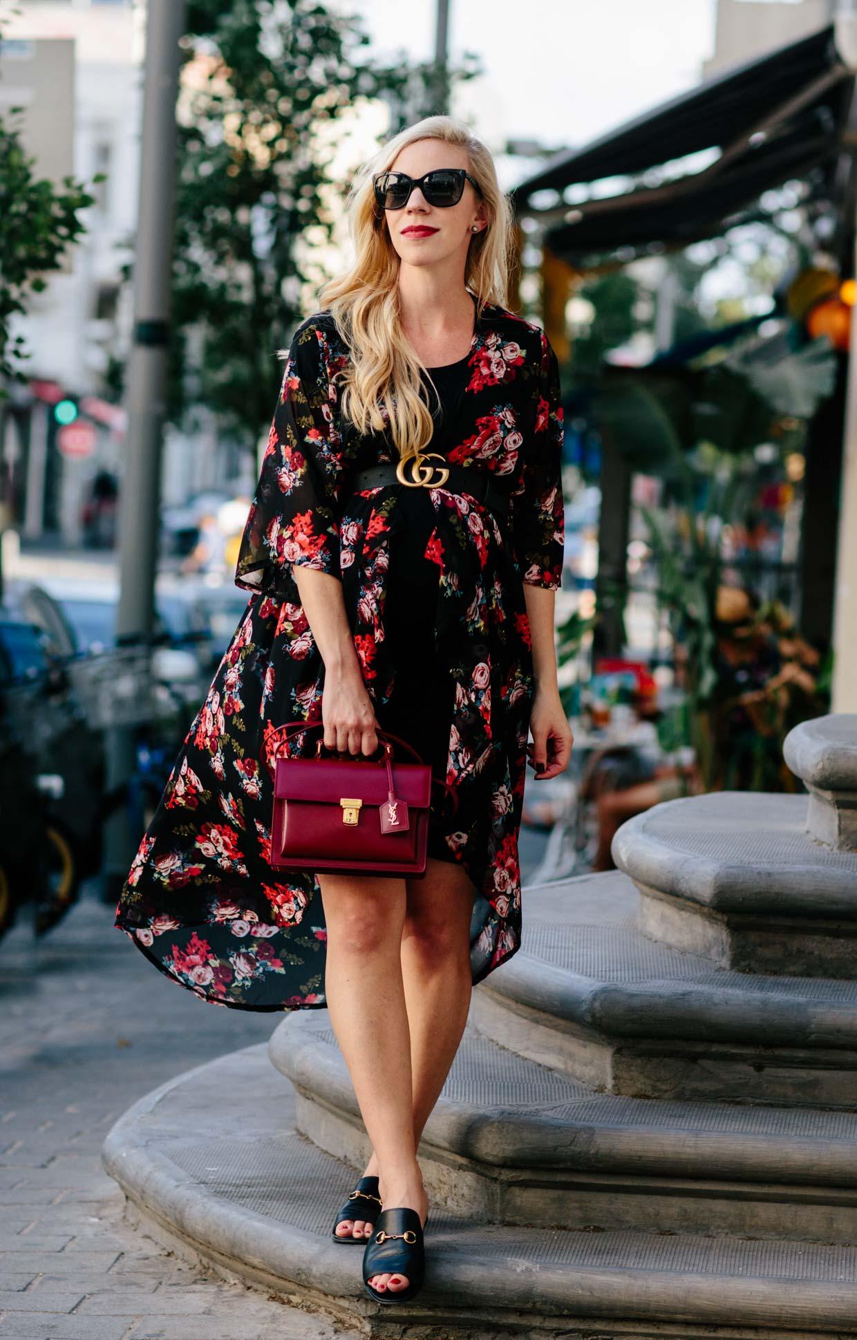 86cc6f468e9 Meagan Brandon fashion blogger shows how to wear dark floral print for fall  with floral print kimono