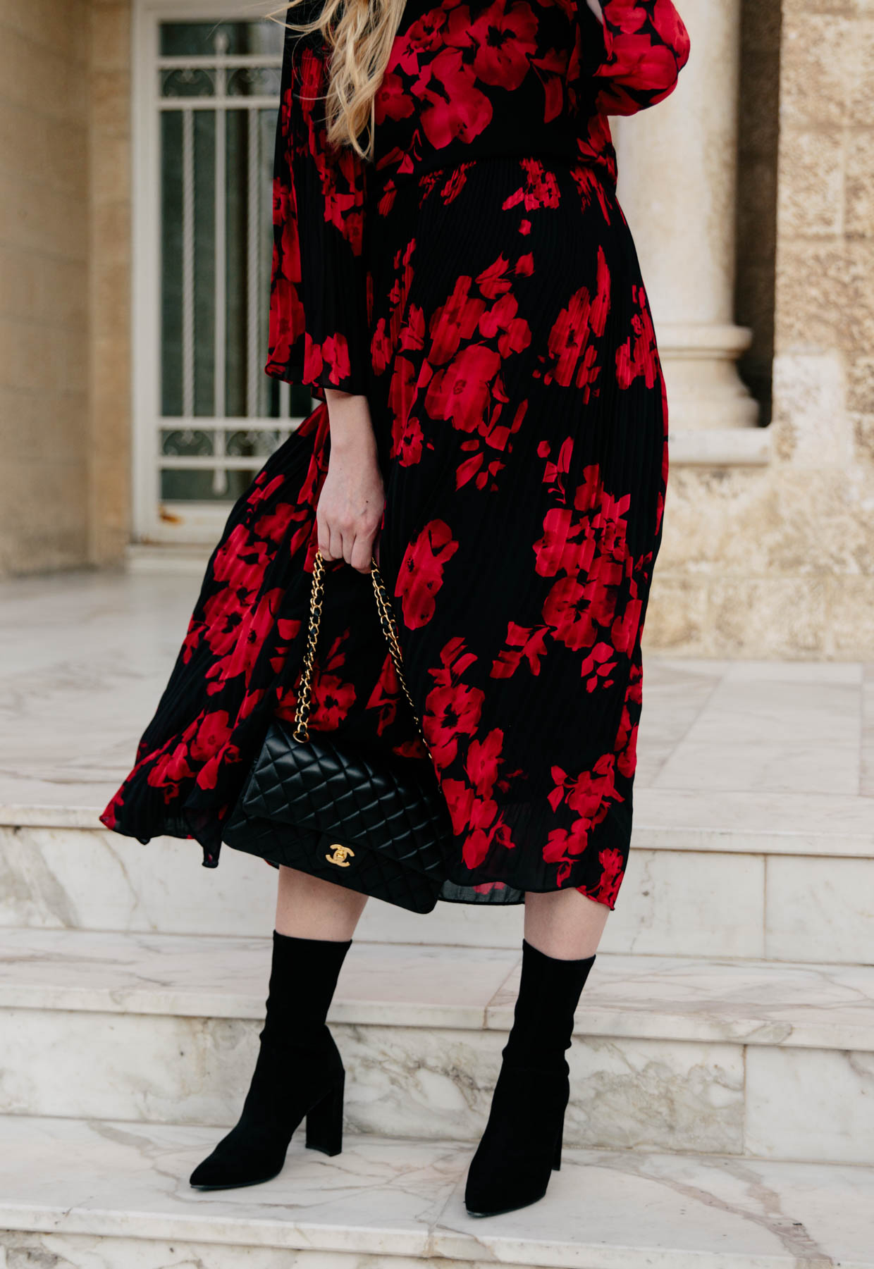 Dark Romance Floral Midi Dress With Sock Boots Meagan S