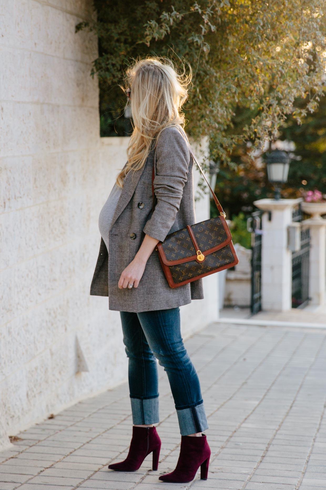 Louis Vuitton Denim Bag >> Fall Plaid: Menswear Blazer with Wide Cuff Jeans & Booties ...