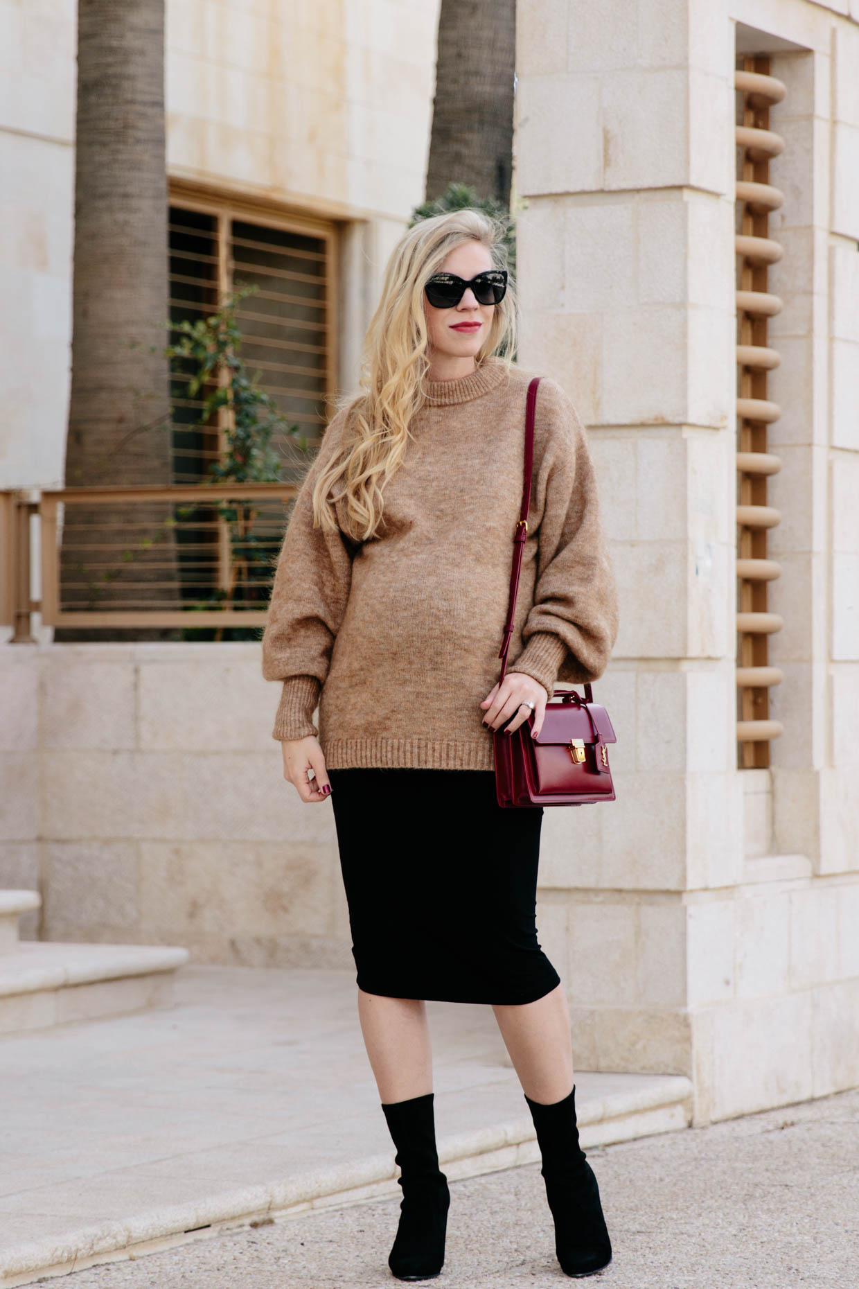 Slouchy Camel Sweater with Maternity Pencil Skirt & Sock ...