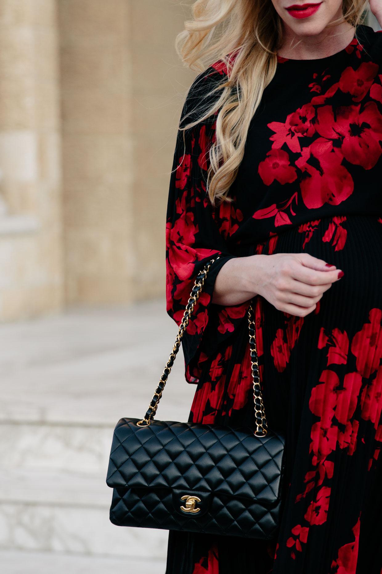 Dark Romance Floral Midi Dress With Sock Boots