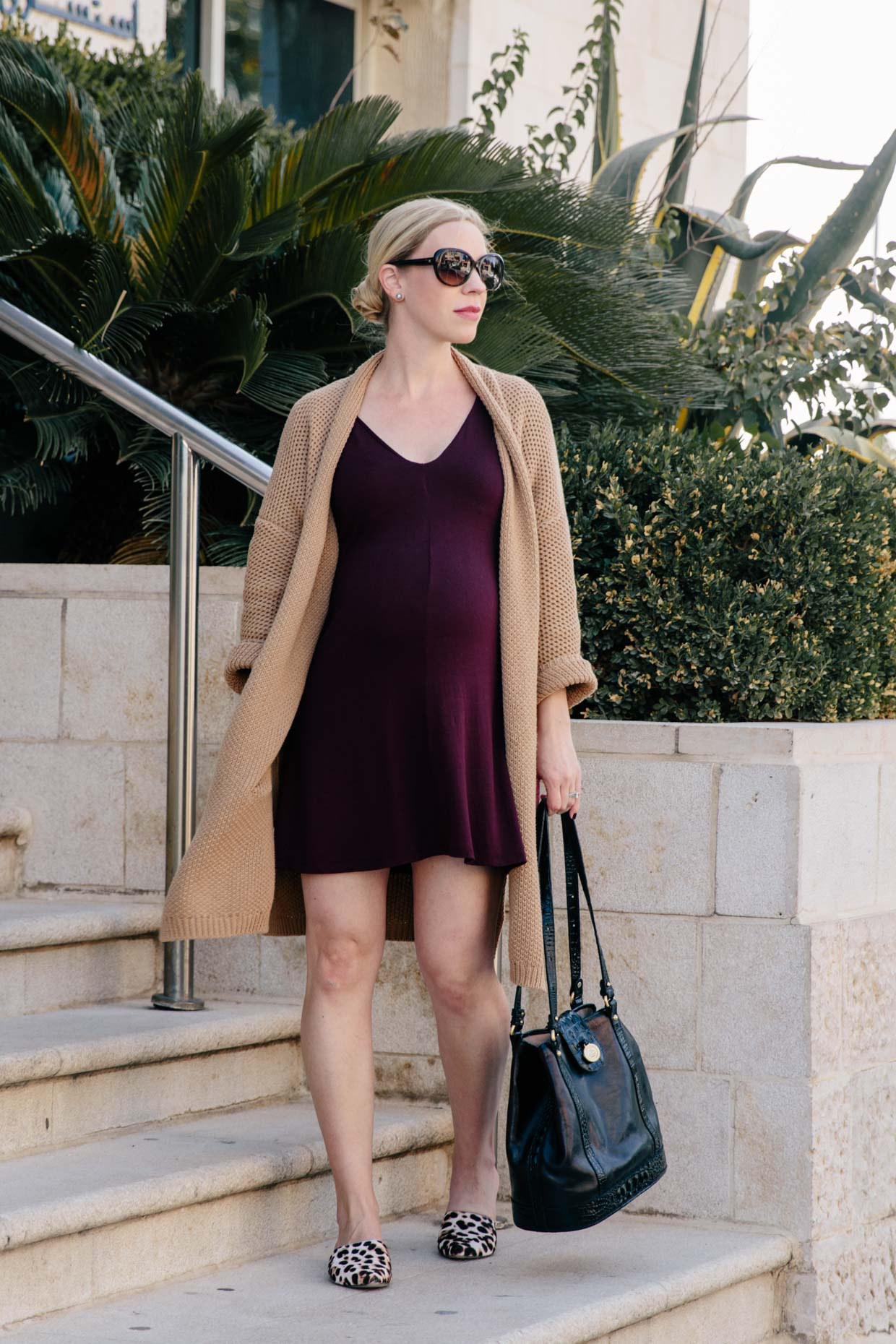 Oversized Camel Cardigan with Burgundy Dress