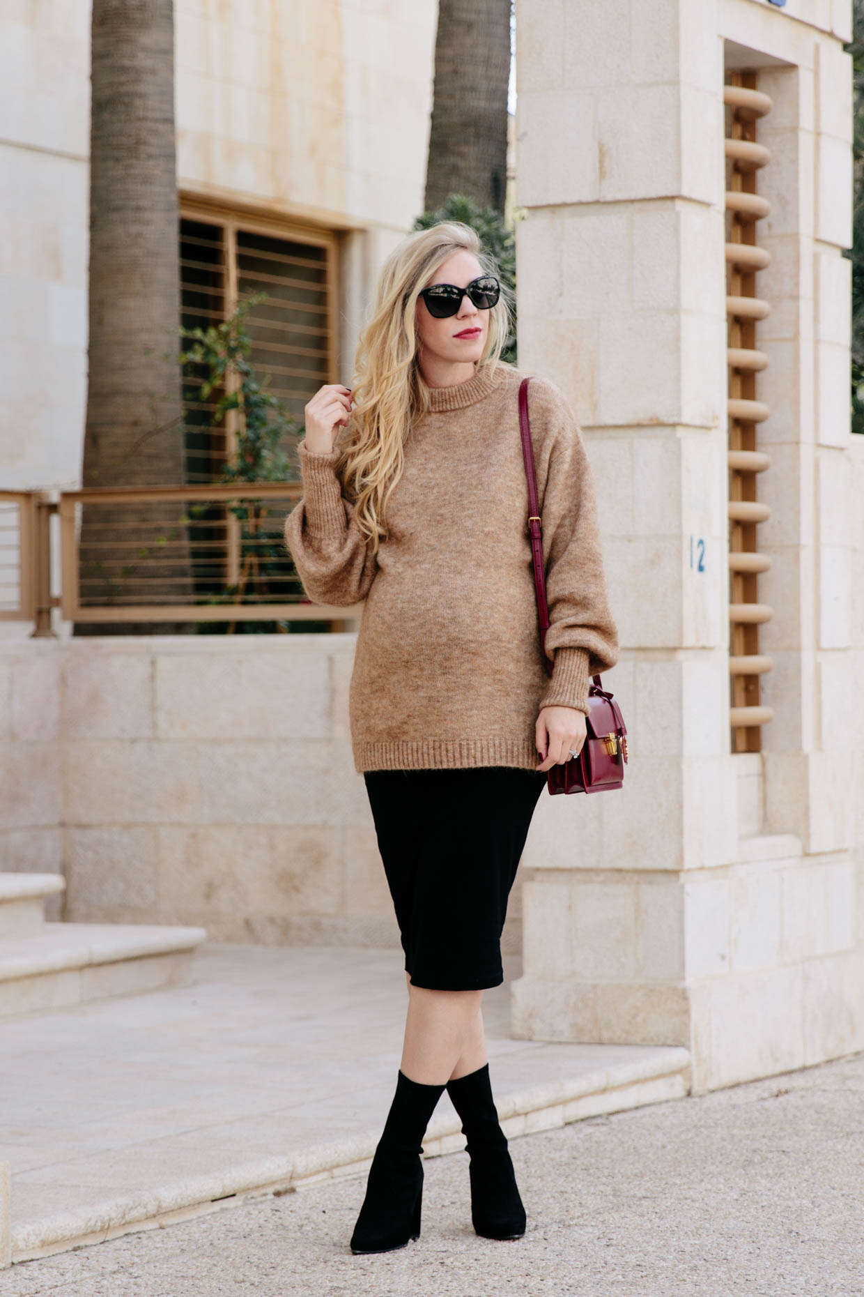 Slouchy Camel Sweater With Maternity Pencil Skirt Amp Sock