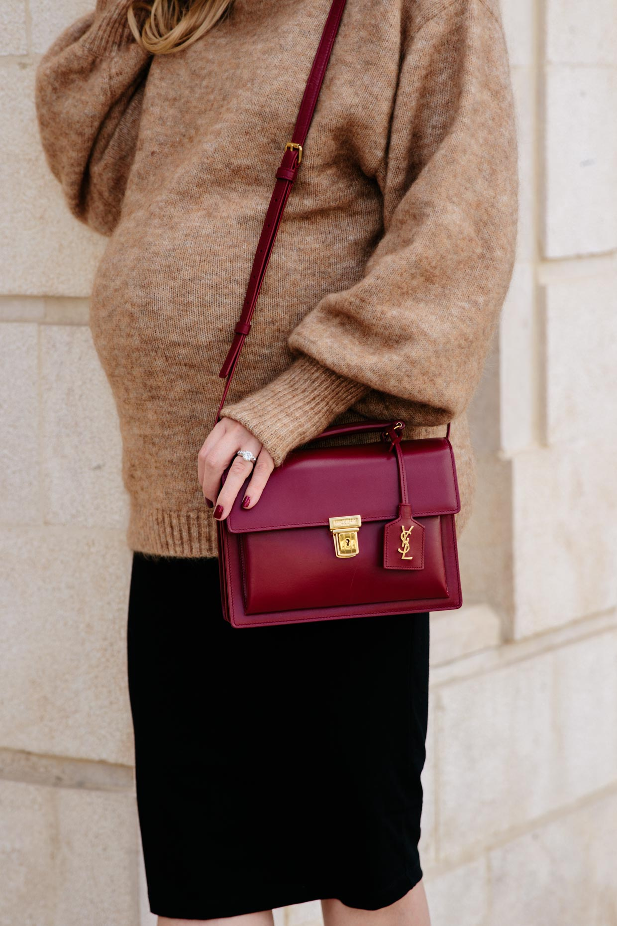 8fc45eb1db2 Saint Laurent High School bag oxblood, camel sweater with black skirt and  red bag outfit