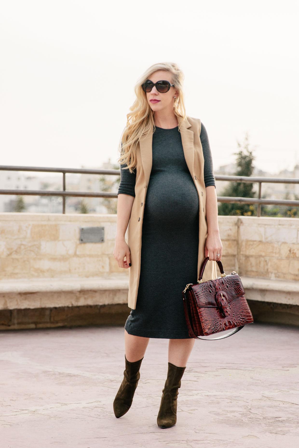 Long Camel Vest Amp Bodycon Maternity Dress