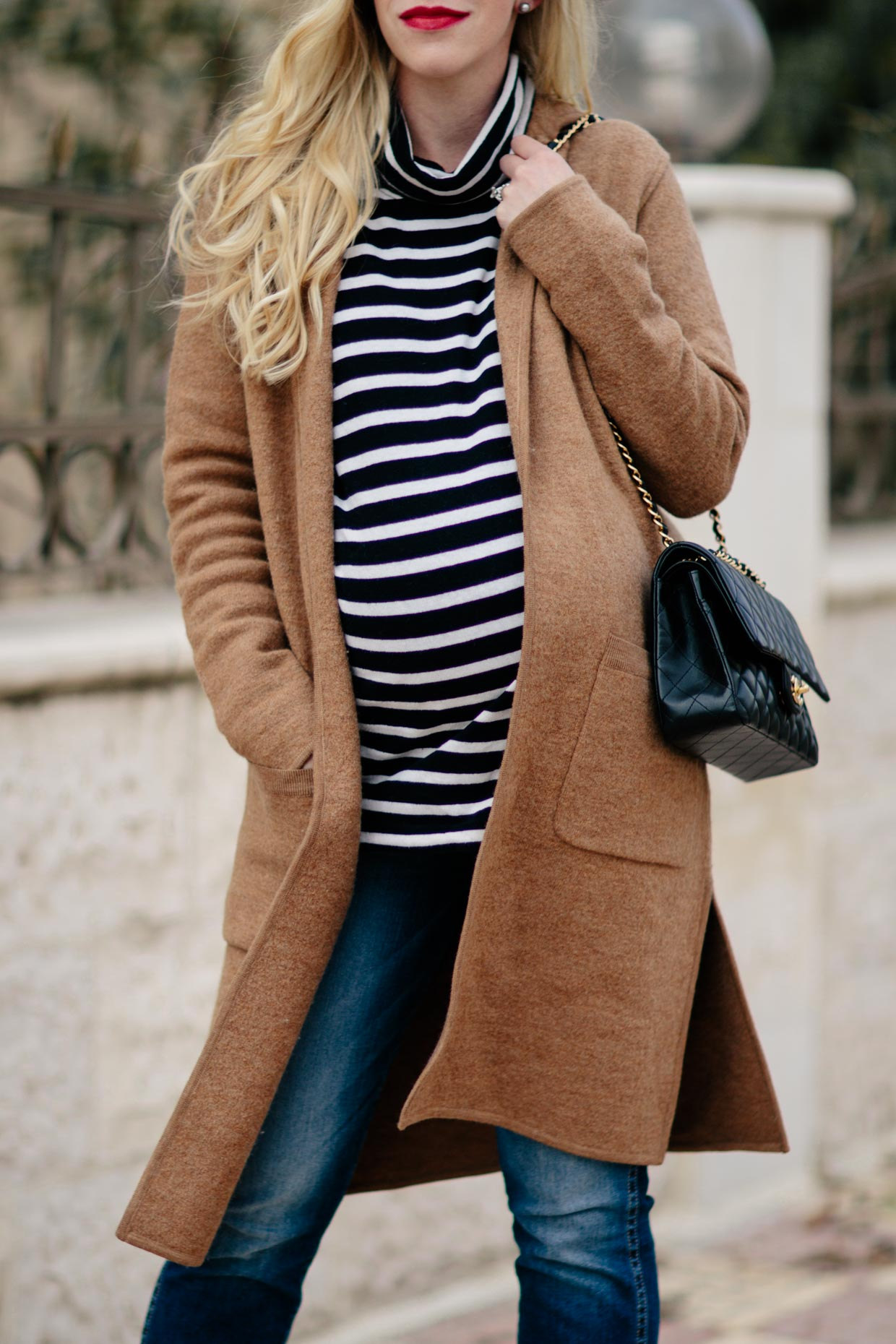 Camel Sweater Coat & Striped Turtleneck with Straight Leg Jeans