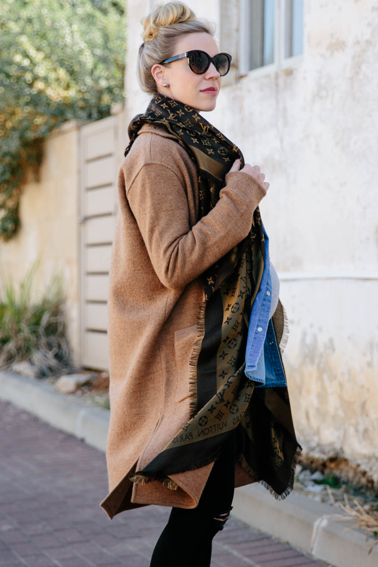 dd395b98f622 Meagan Brandon fashion blogger of Meagan's Moda wears Madewell camel sweater  coat with brown shiny Louis Vuitton monogram scarf for chic fall maternity  ...