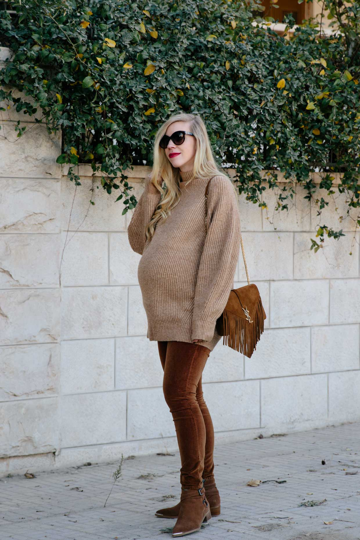 Meagan Brandon Fashion Blogger Of Meagan S Moda Wears All Camel Monochromatic Outfit With Saint Laurent Tan Suede Fringe Bag All Camel Color Outfit For Fall Frame Velvet Camel Pants Meagan S Moda