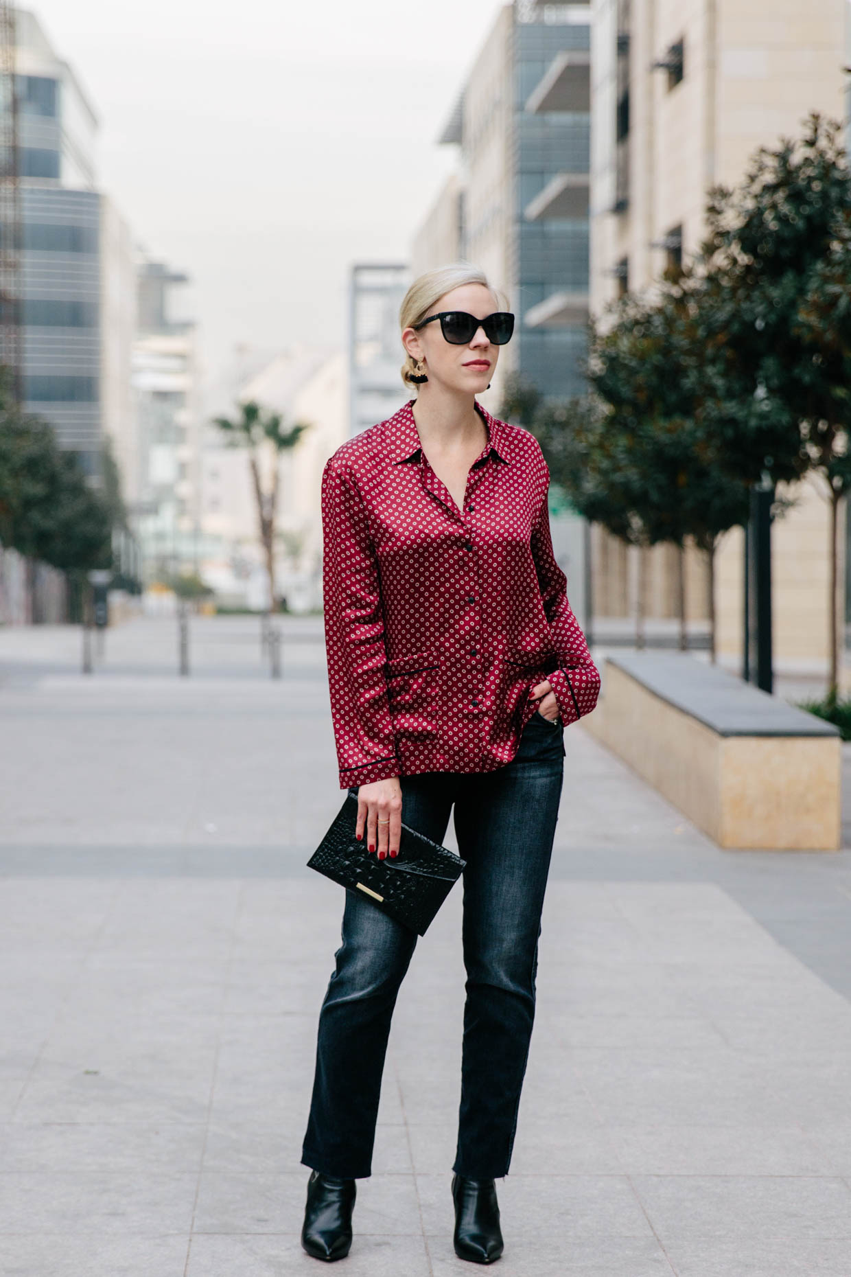 Casual New Year\u0027s Outfit Silk Blouse, Straight Leg Jeans