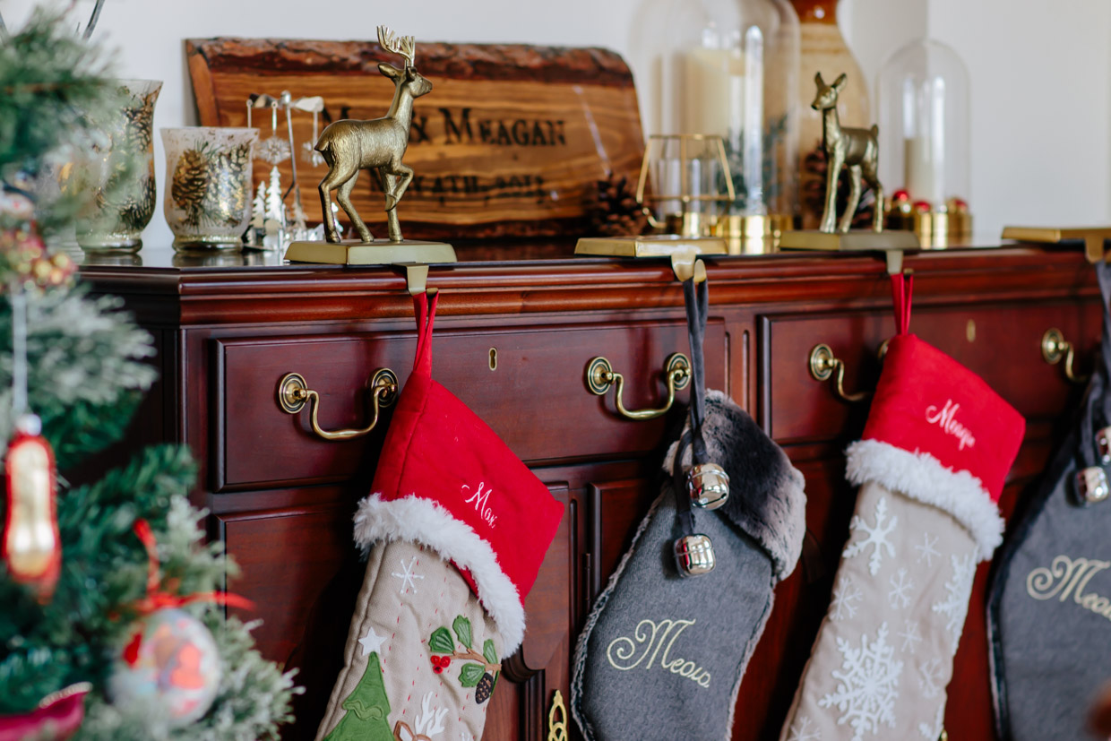 Pottery Barn Woodland Stockings And Deer Stocking Holders Christmas Home Decor Using Deer How To Make Any Home Feel Cozy For The Holidays Meagan S Moda