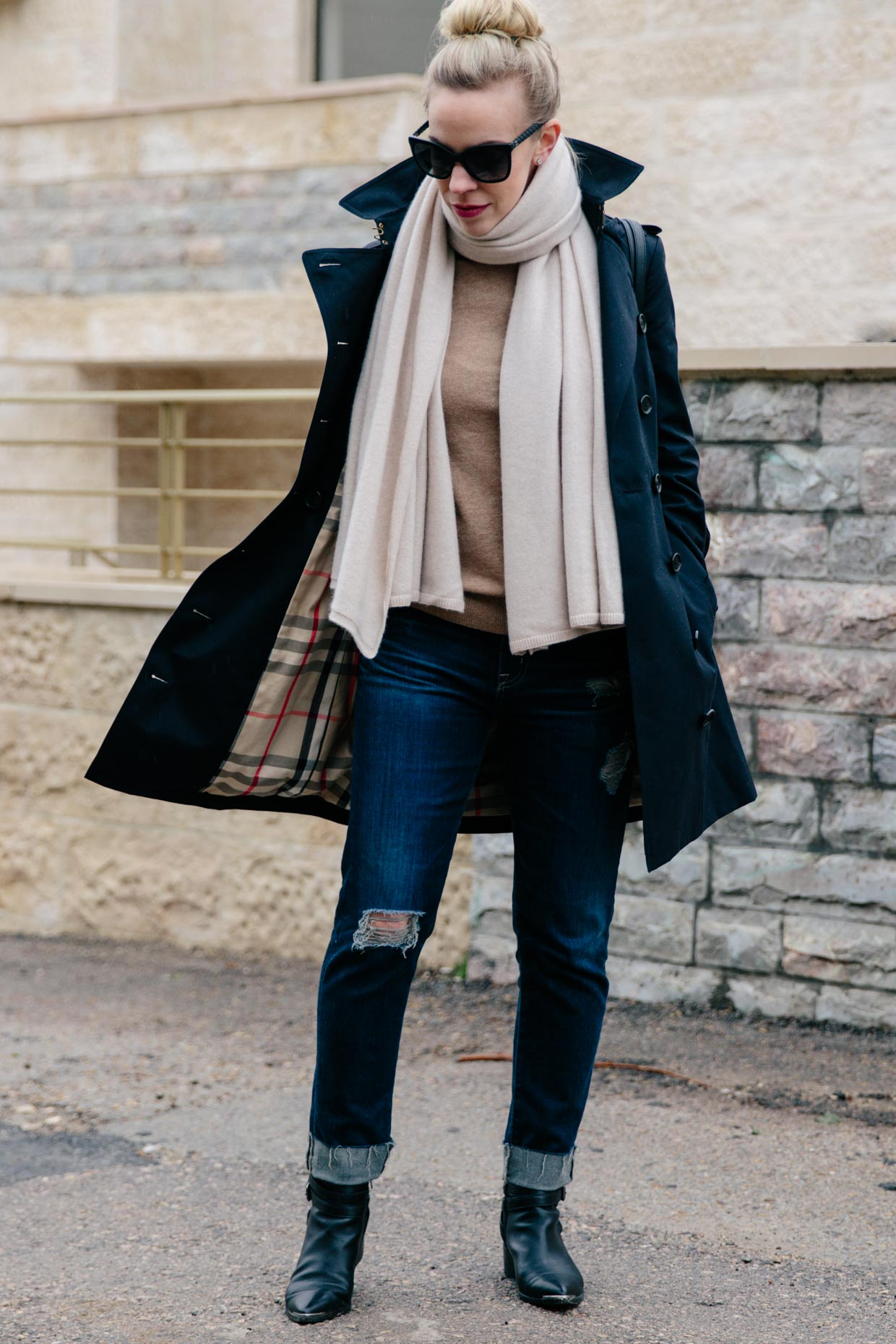 Navy blue Burberry trench coat outfit