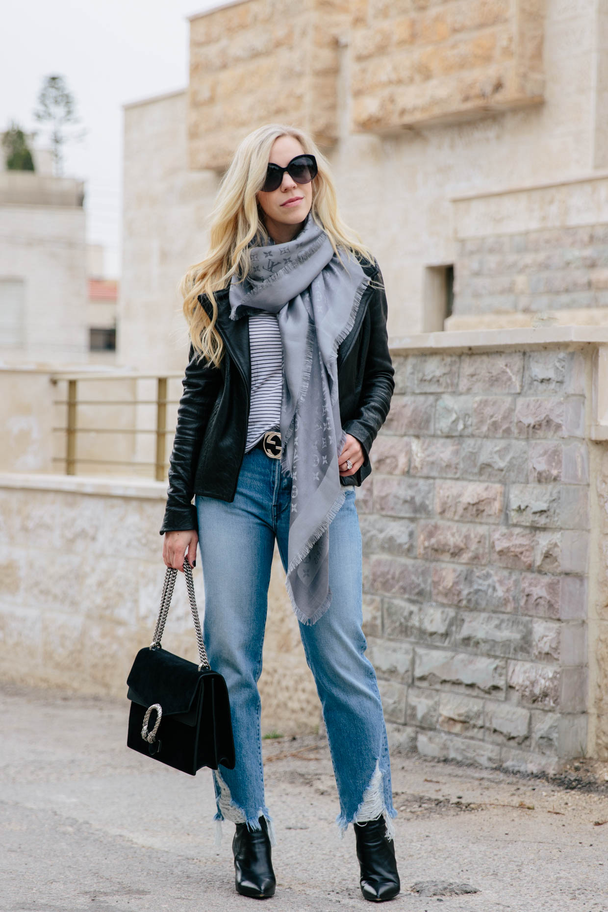 All Season Layered Look With A Leather Jacket Amp Straight