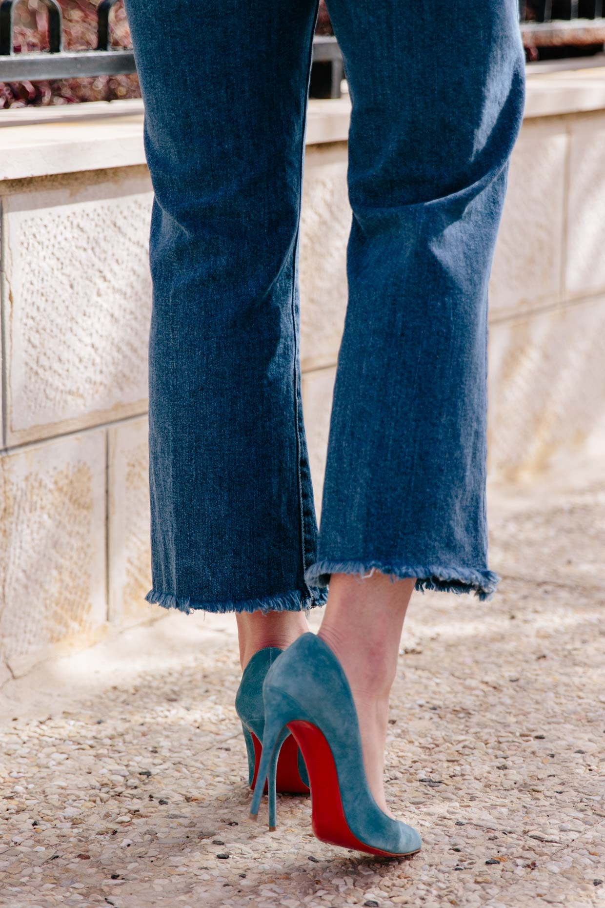 Christian Louboutin blue suede Pigalle