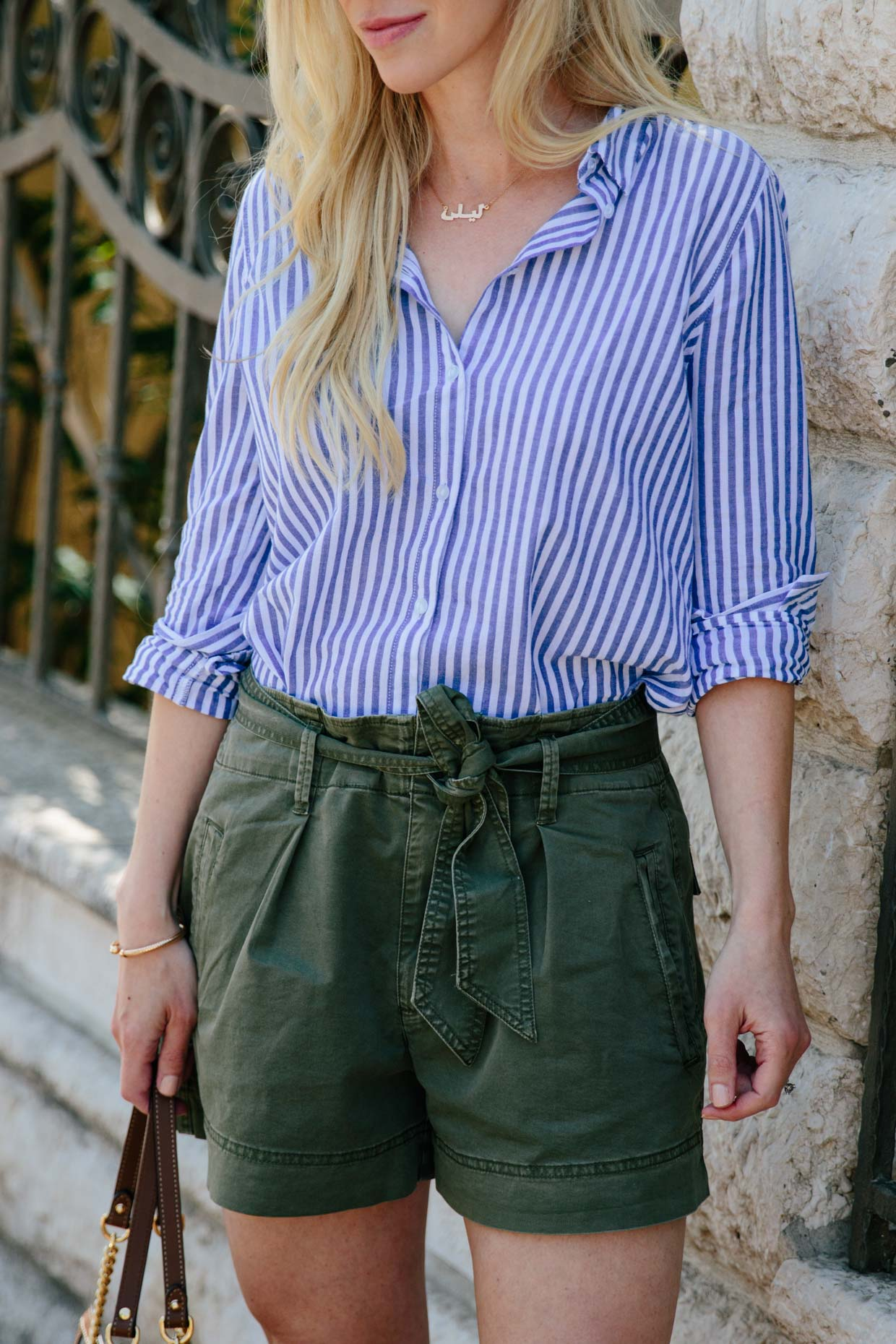 740744eeb Casual summer outfit idea with blue striped button down shirt and olive tie  waist shorts, how to wear stripes and olive together