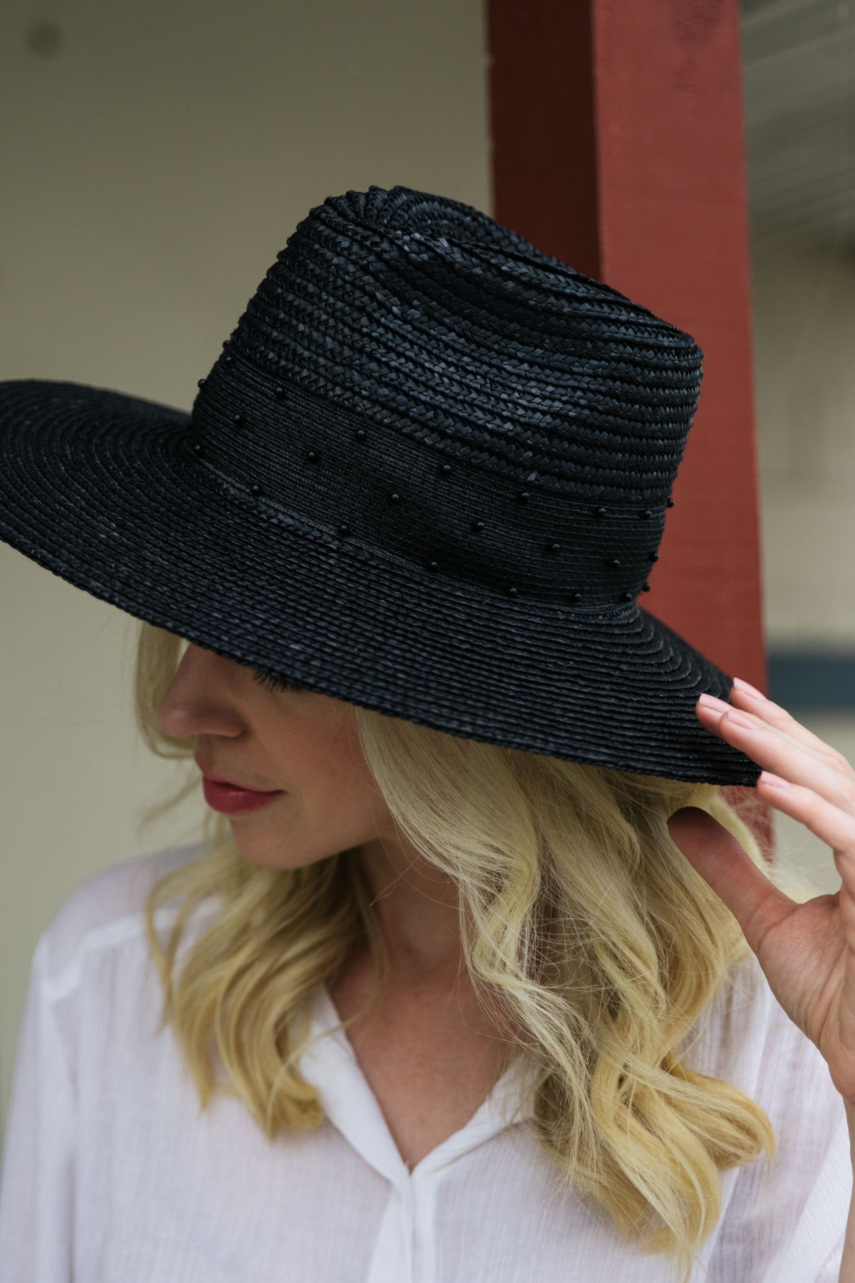 69bfe10a6 Brixton Macy black fedora hat outfit for summer - Meagan's Moda