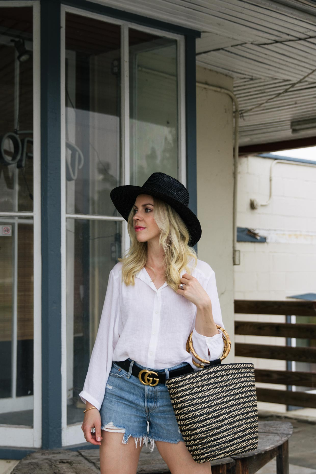 Casual Summer Outfit Idea With White Shirt Black Fedora And Denim