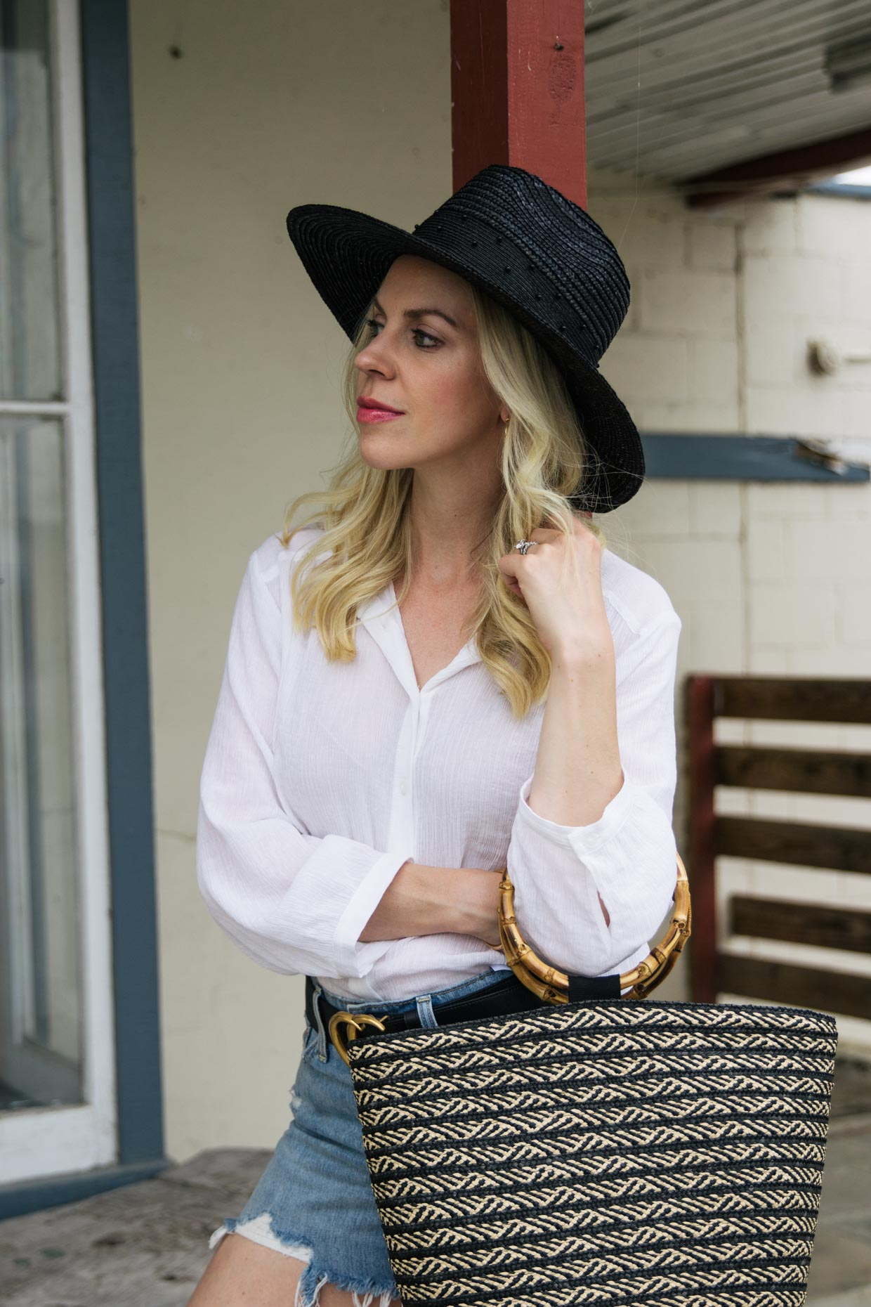 Chic Summer Outfit Idea With Brixton Macy Fedora Hat And Bamboo