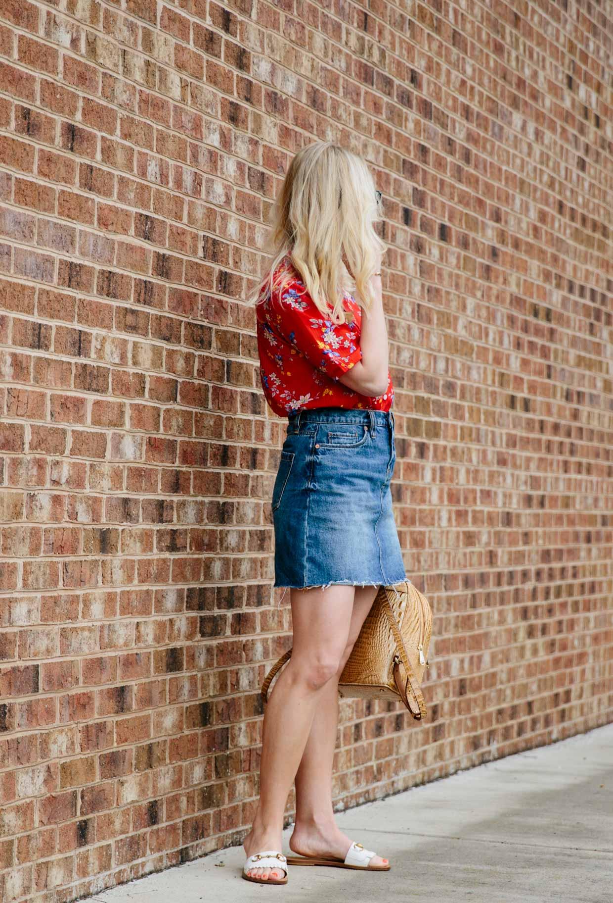 Retro Red Floral Print Shirt Amp Denim Mini Skirt Meagan