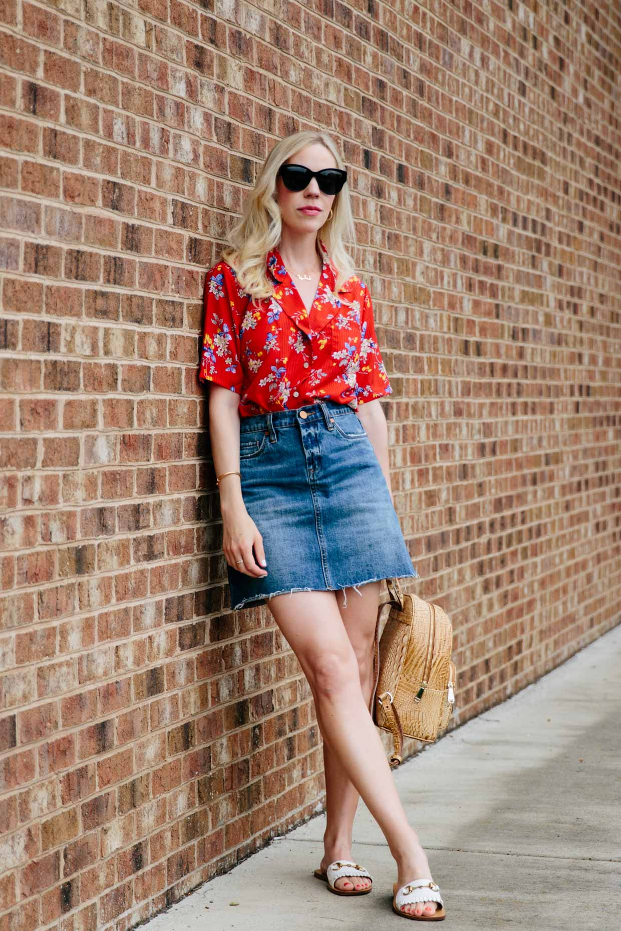 retro red floral print shirt  denim mini skirt  meagan